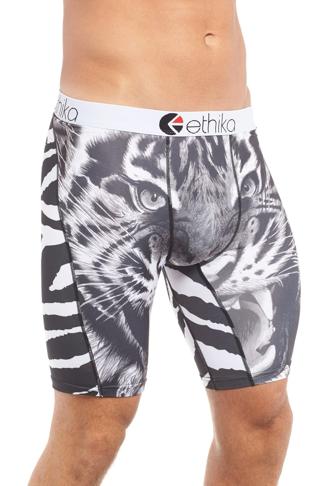 Tiger Face Stretch Boxer Briefs,                             Alternate thumbnail 6, color,                             002