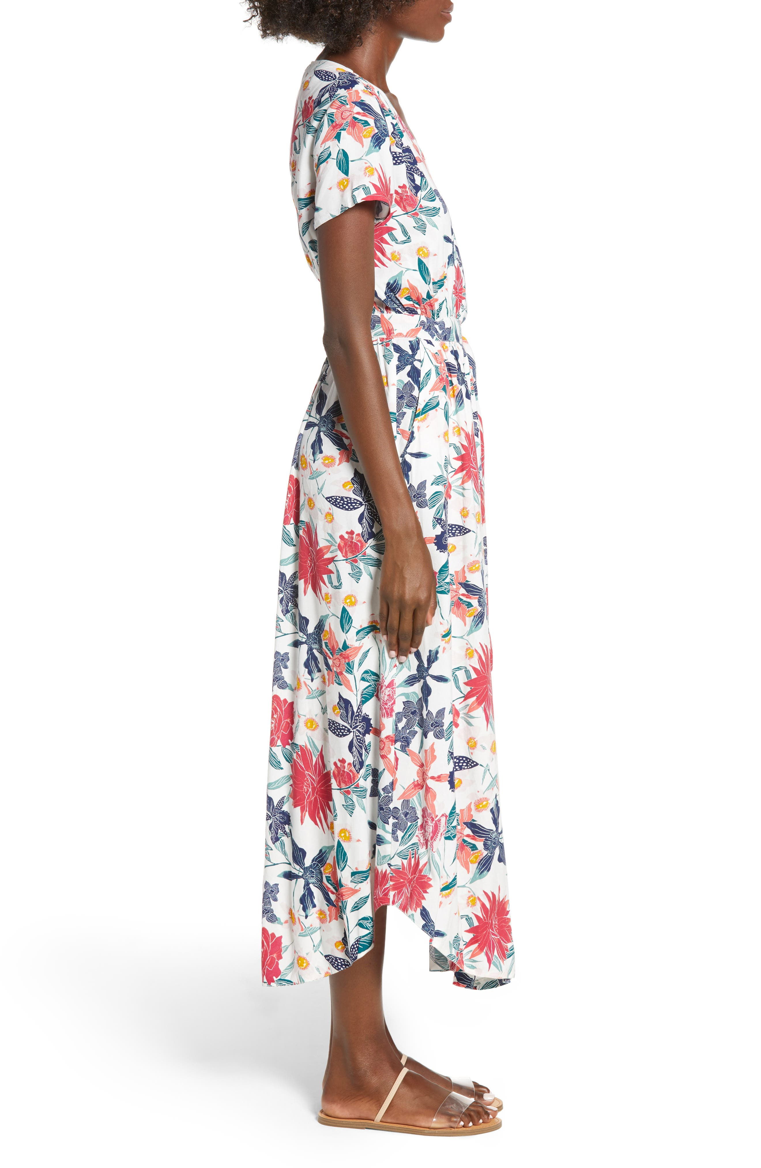District Nights Floral Print Dress,                             Alternate thumbnail 3, color,                             MARSHMALLOW TALLOWS