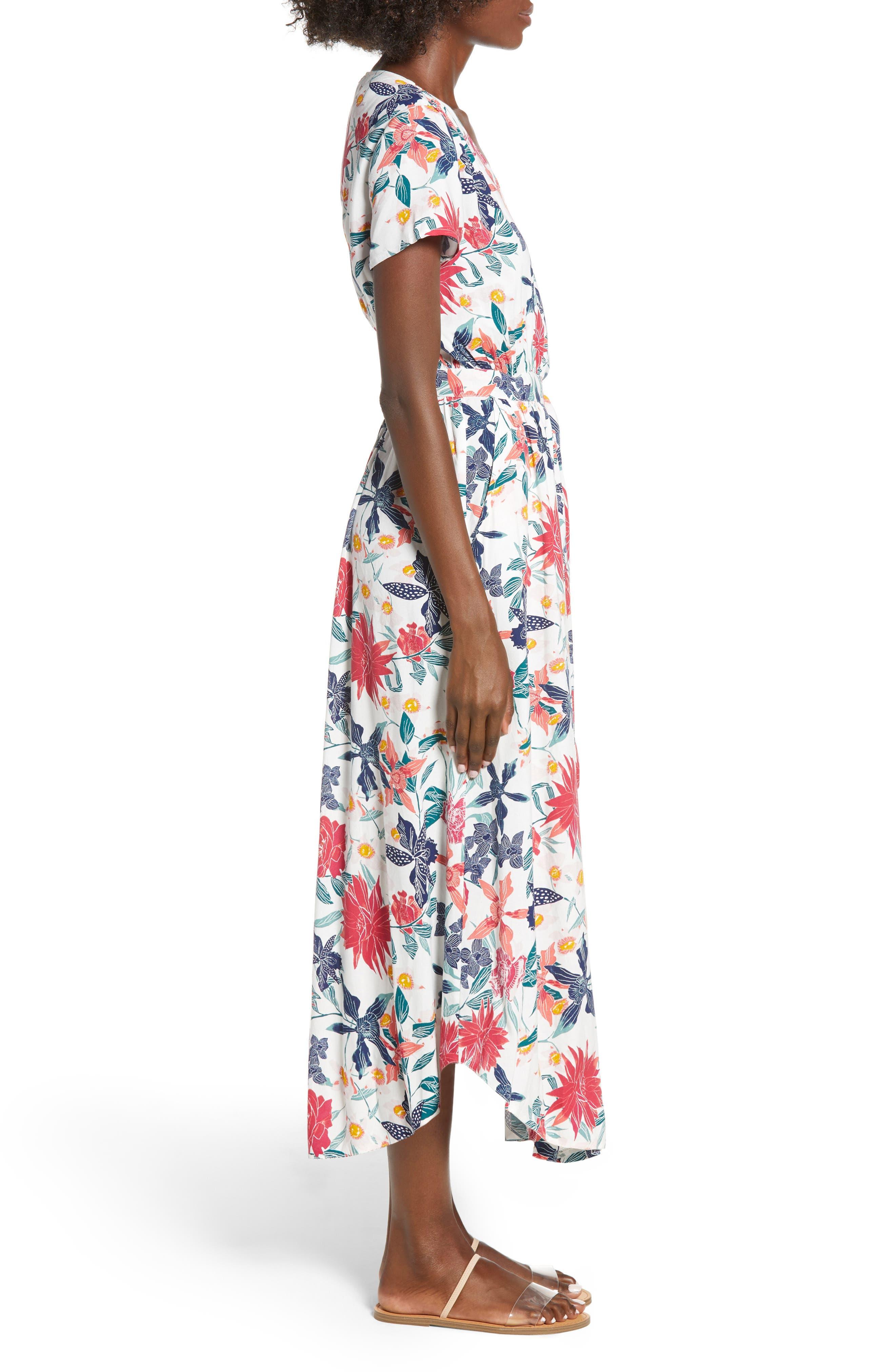 District Nights Floral Print Dress,                             Alternate thumbnail 3, color,                             100