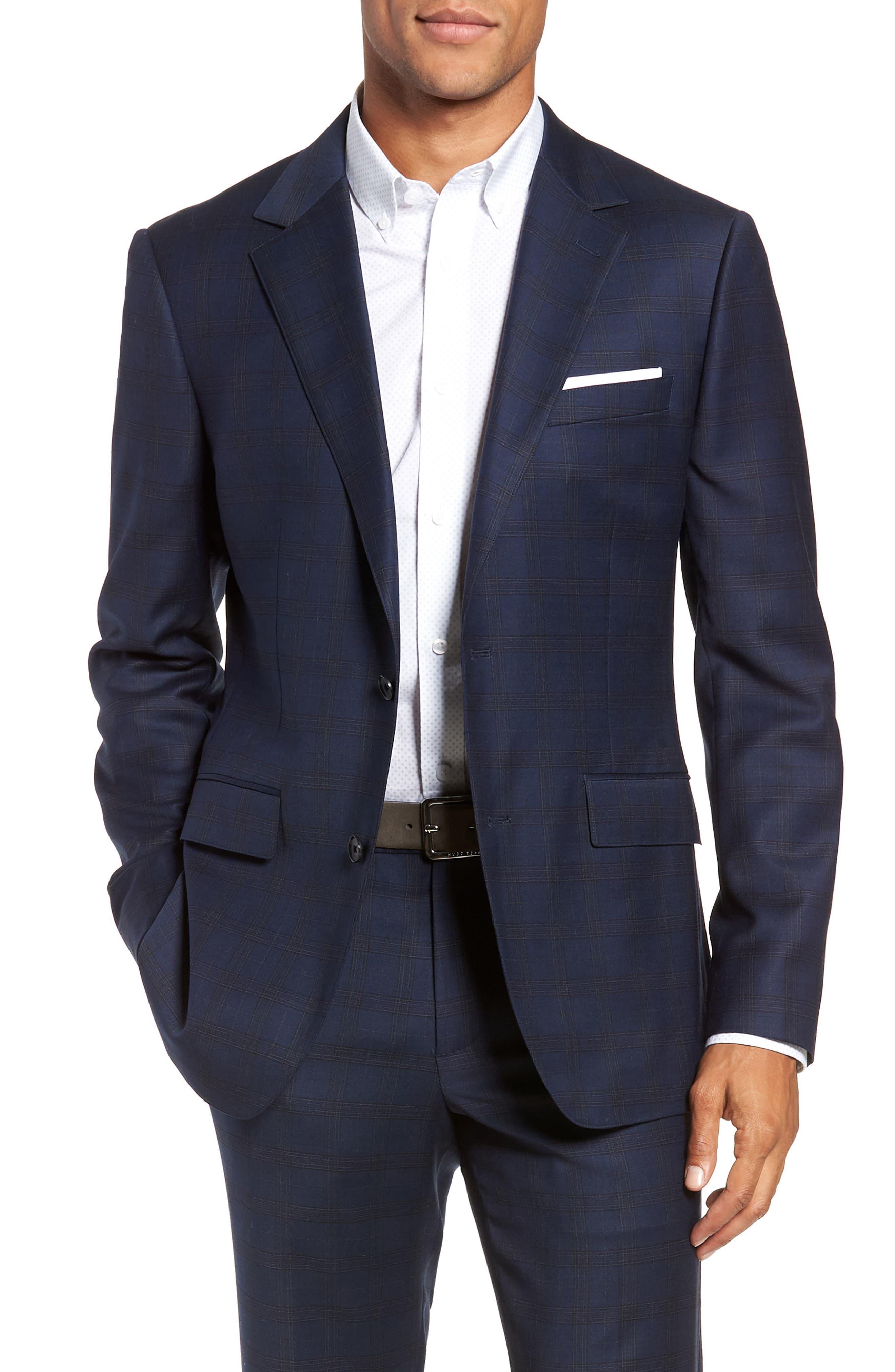 Jetsetter Slim Fit Stretch Suit Pants,                             Alternate thumbnail 7, color,                             SUBTLE NAVY PLAID