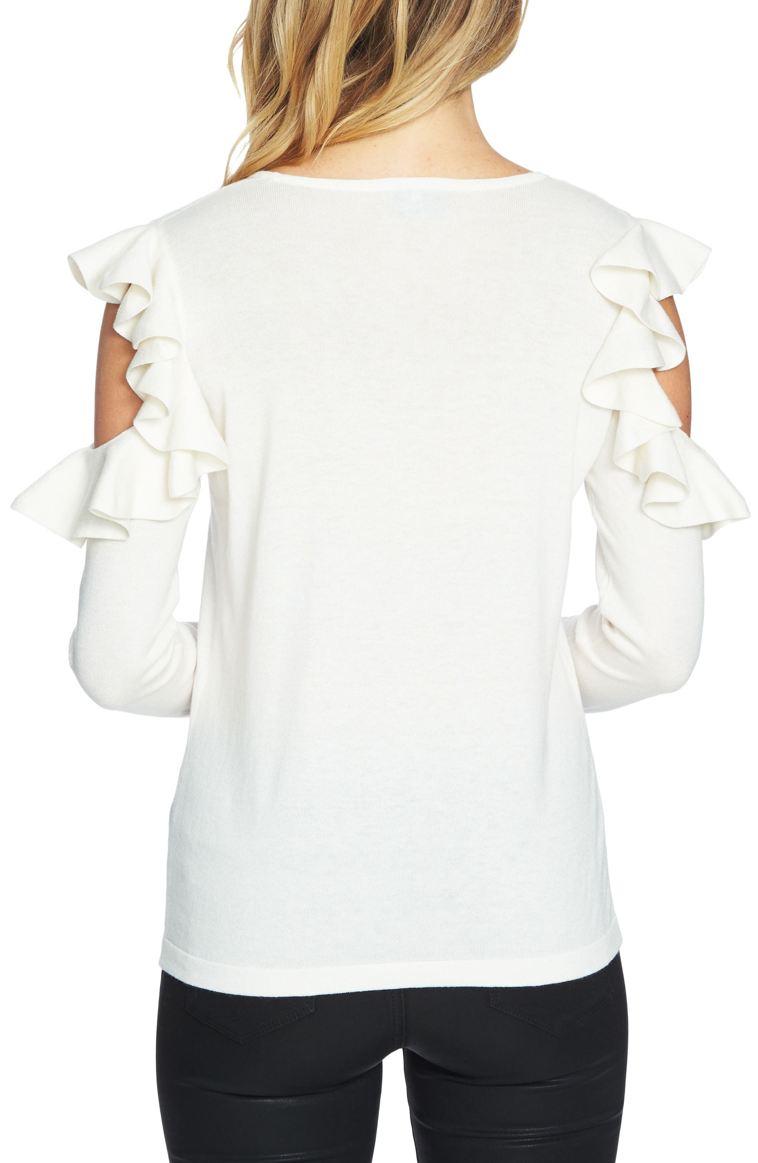 Ruffled Cold Shoulder Sweater,                             Alternate thumbnail 12, color,