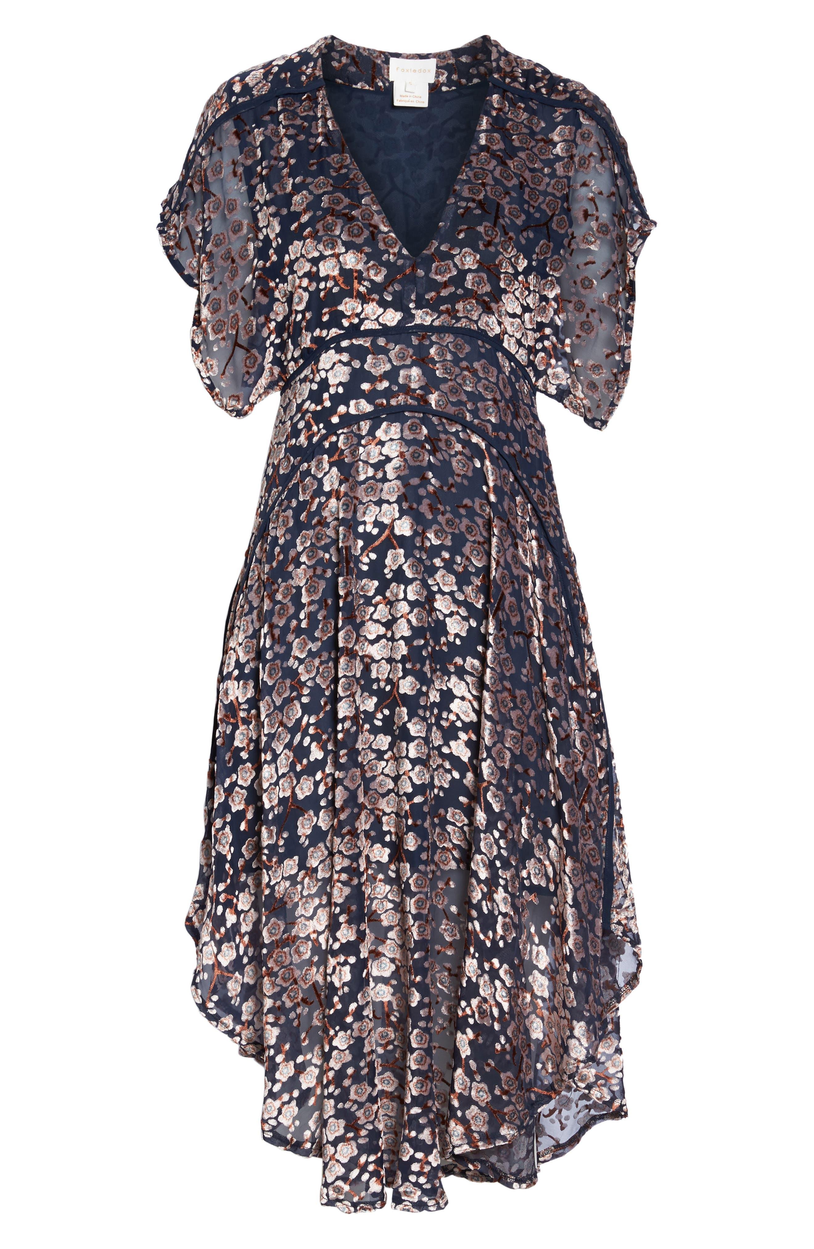 Cosimia Burnout Velvet Midi Dress,                             Alternate thumbnail 6, color,                             026