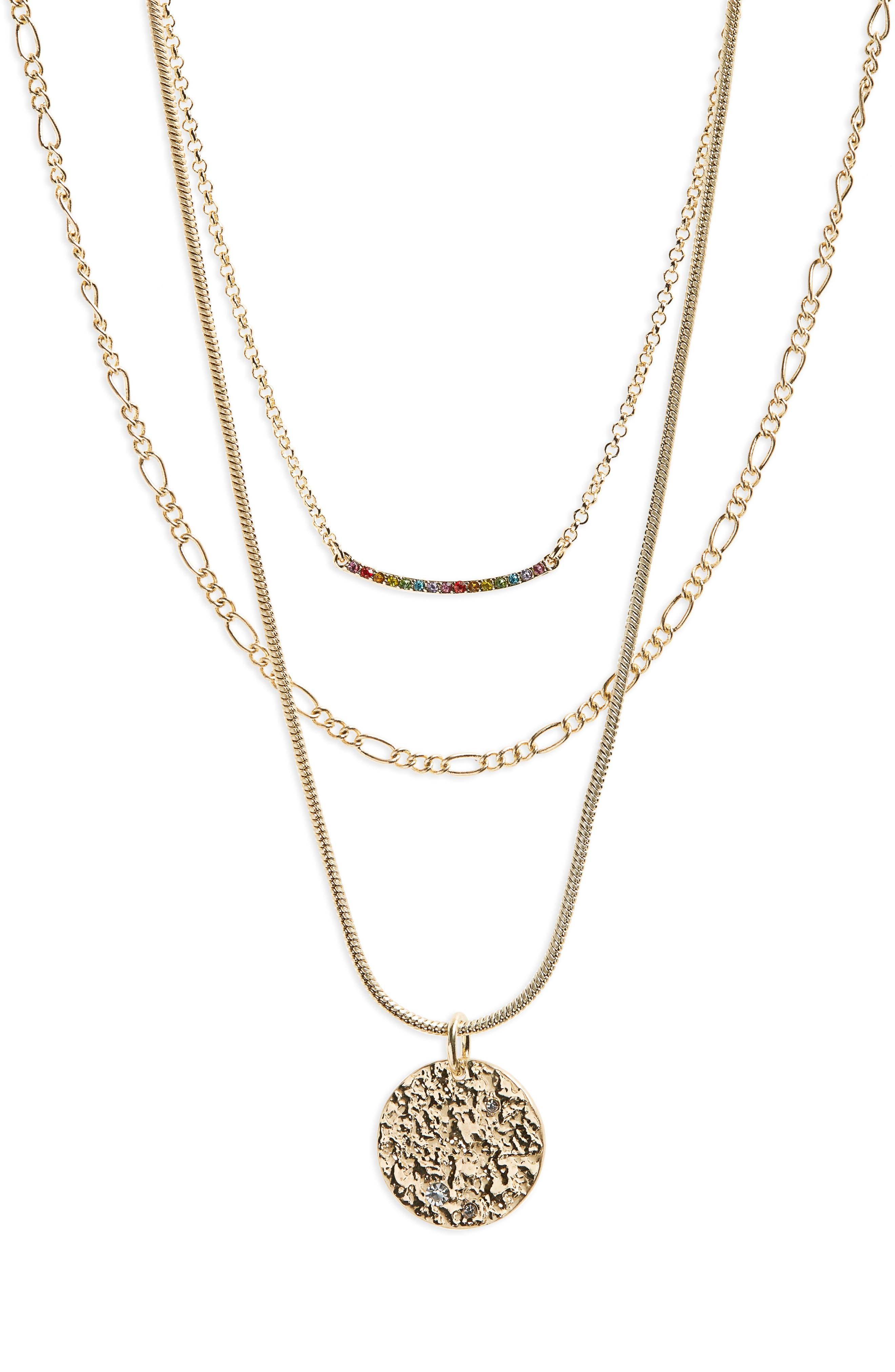 Multistrand Bar & Pendant Necklace, Main, color, 000