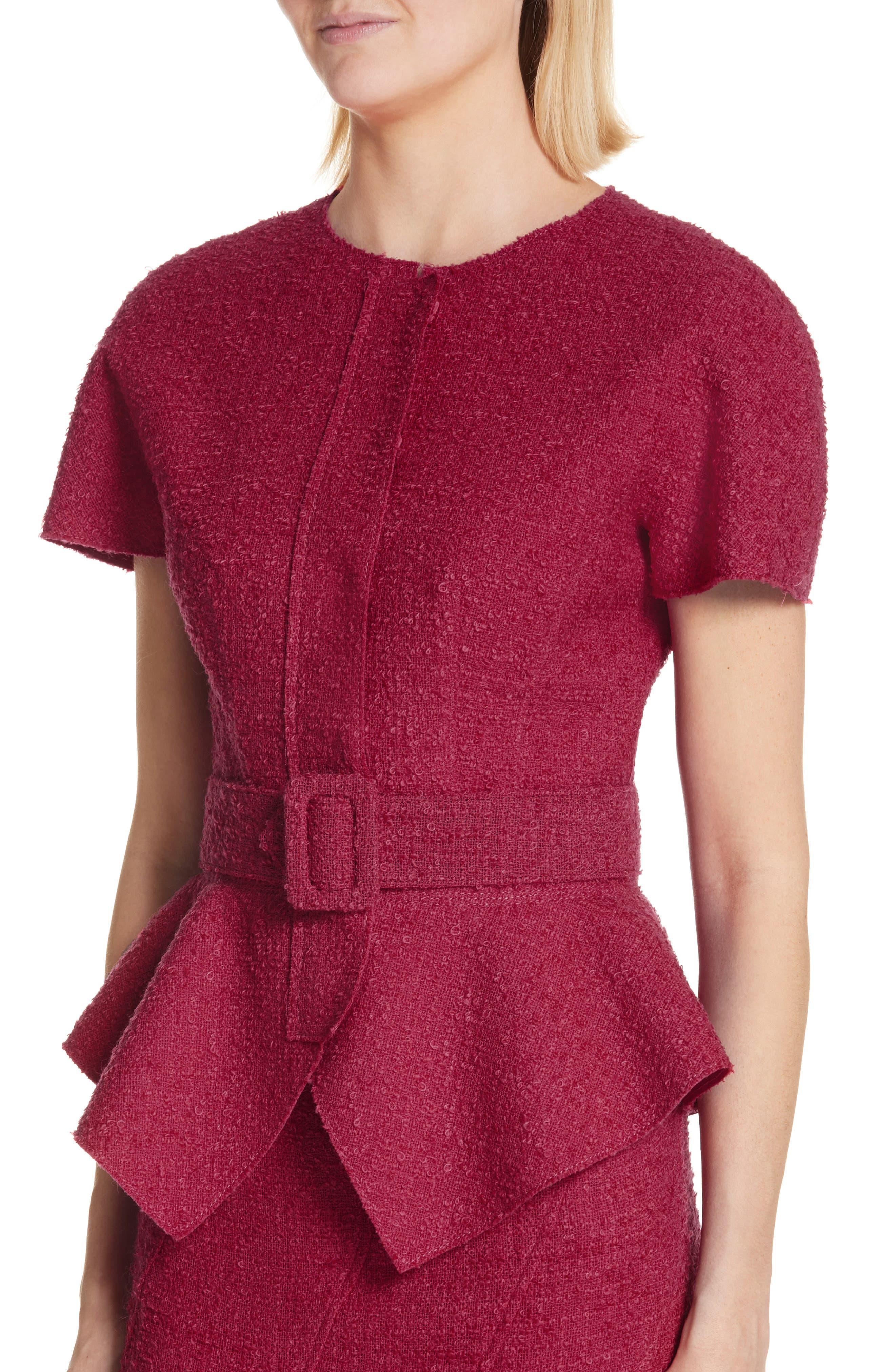 Belted Peplum Wool Blend Tweed Jacket,                             Alternate thumbnail 4, color,                             607