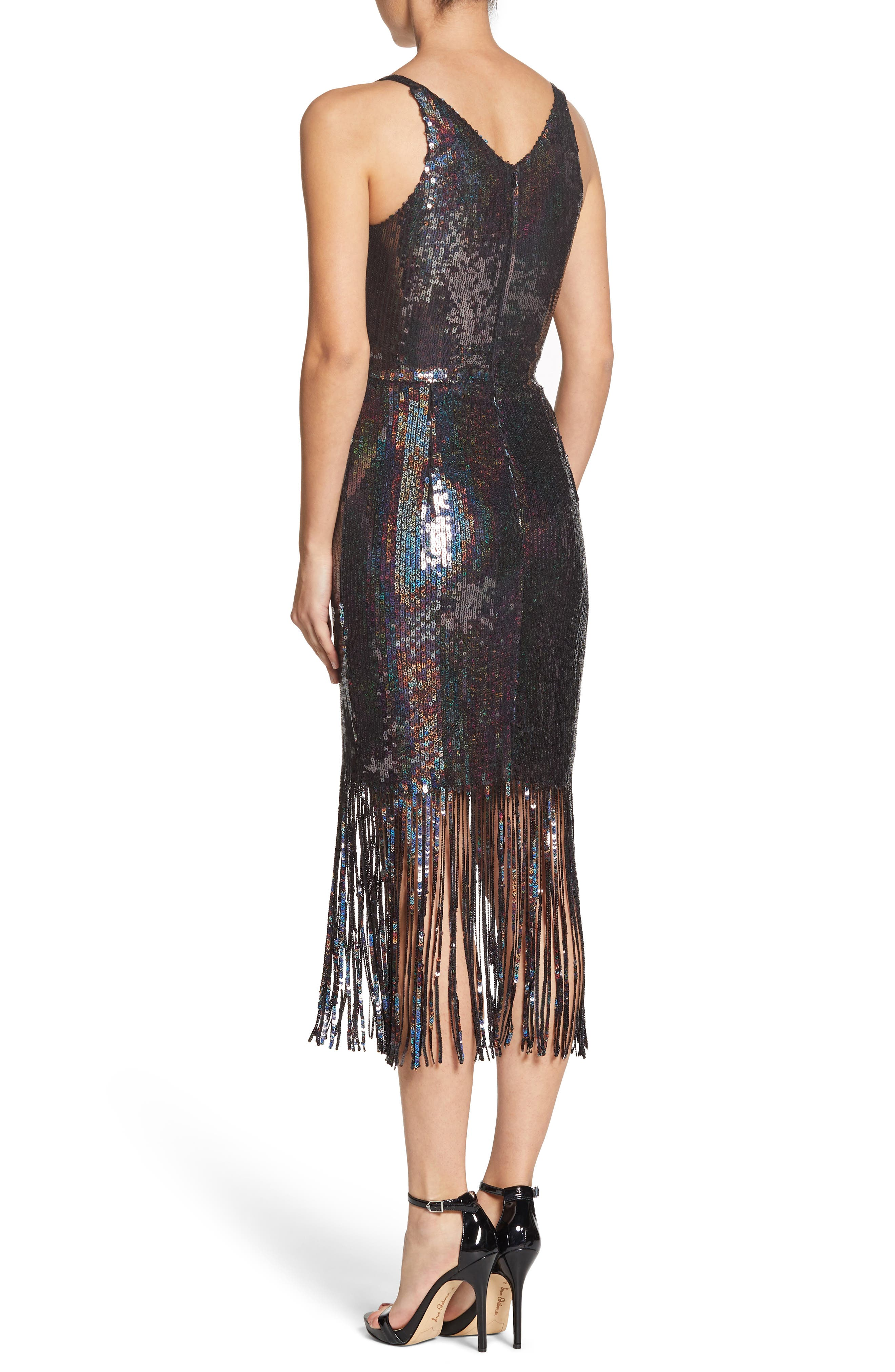 Frankie Plunge Midi Dress,                             Alternate thumbnail 2, color,                             ONYX