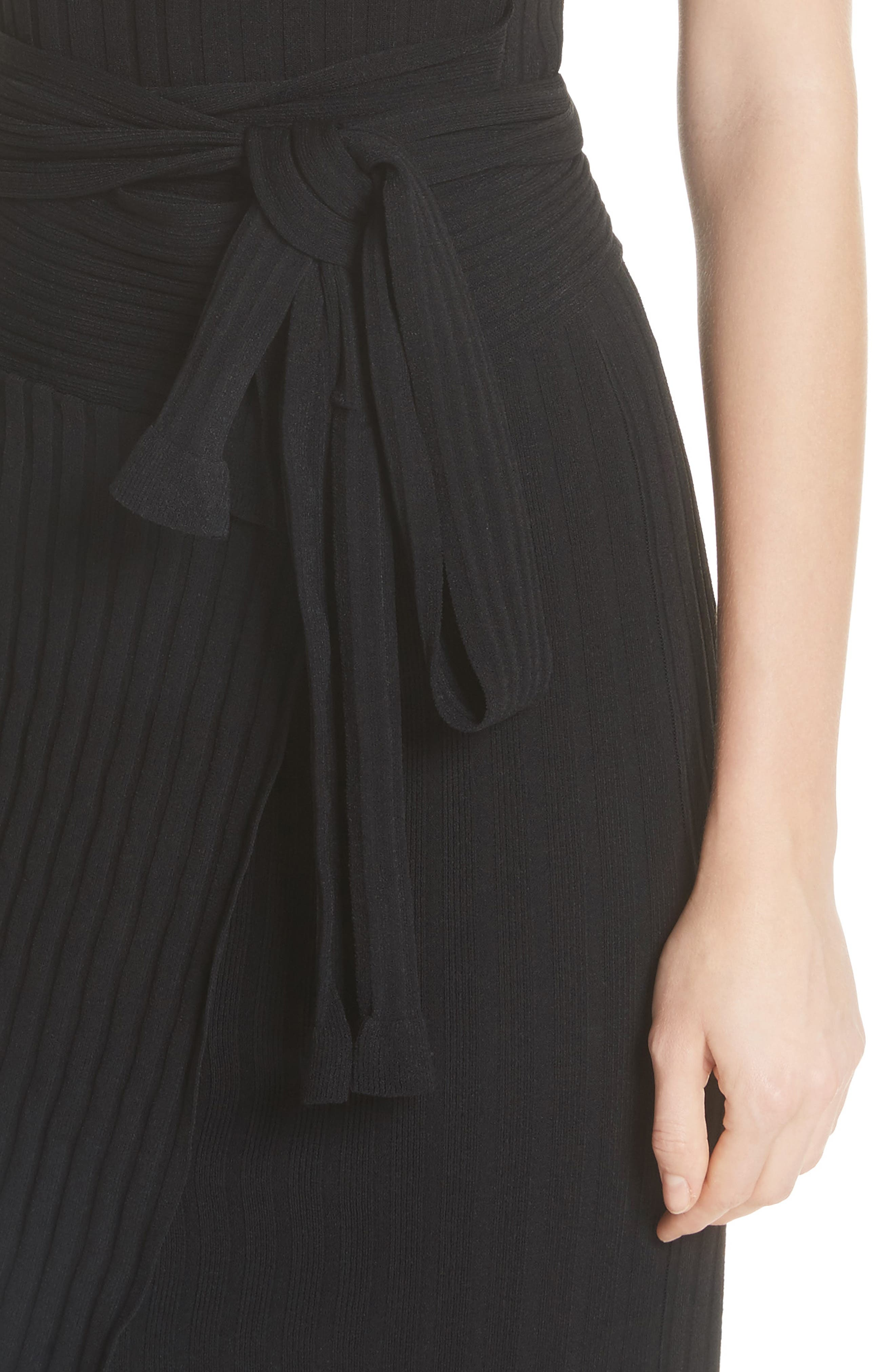Ribbed Tie Waist Sweater Dress,                             Alternate thumbnail 4, color,                             001