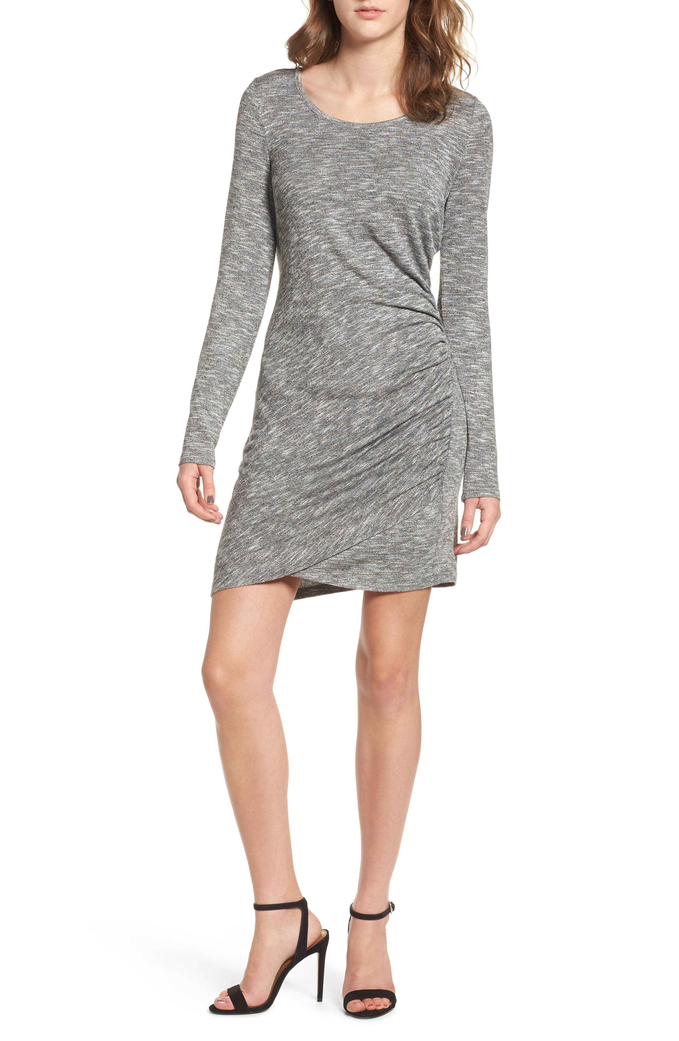 Ruched Knit Dress,                             Main thumbnail 1, color,                             020