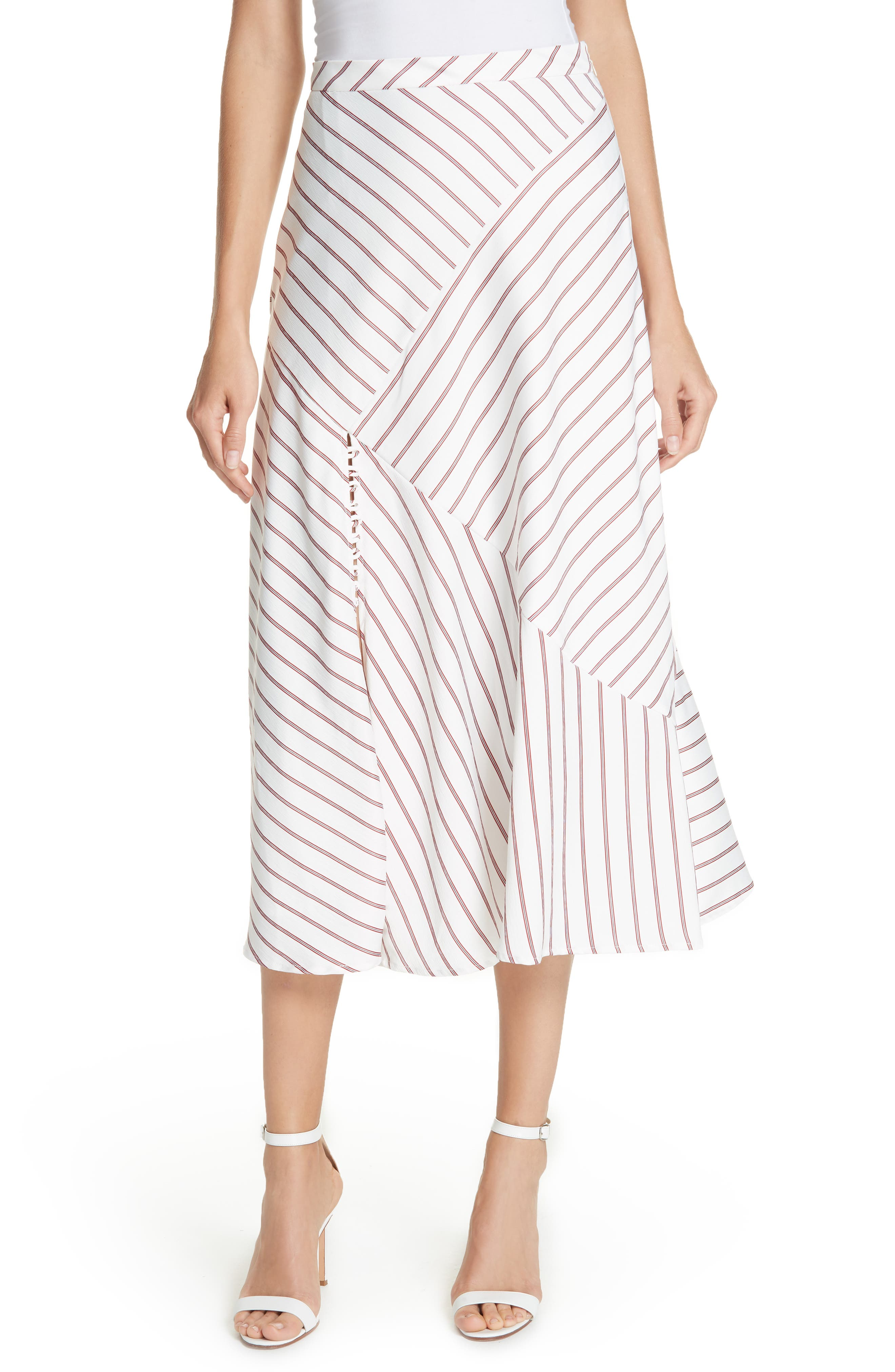 NICHOLAS Stripe Panel Skirt, Main, color, WHITE/ RED
