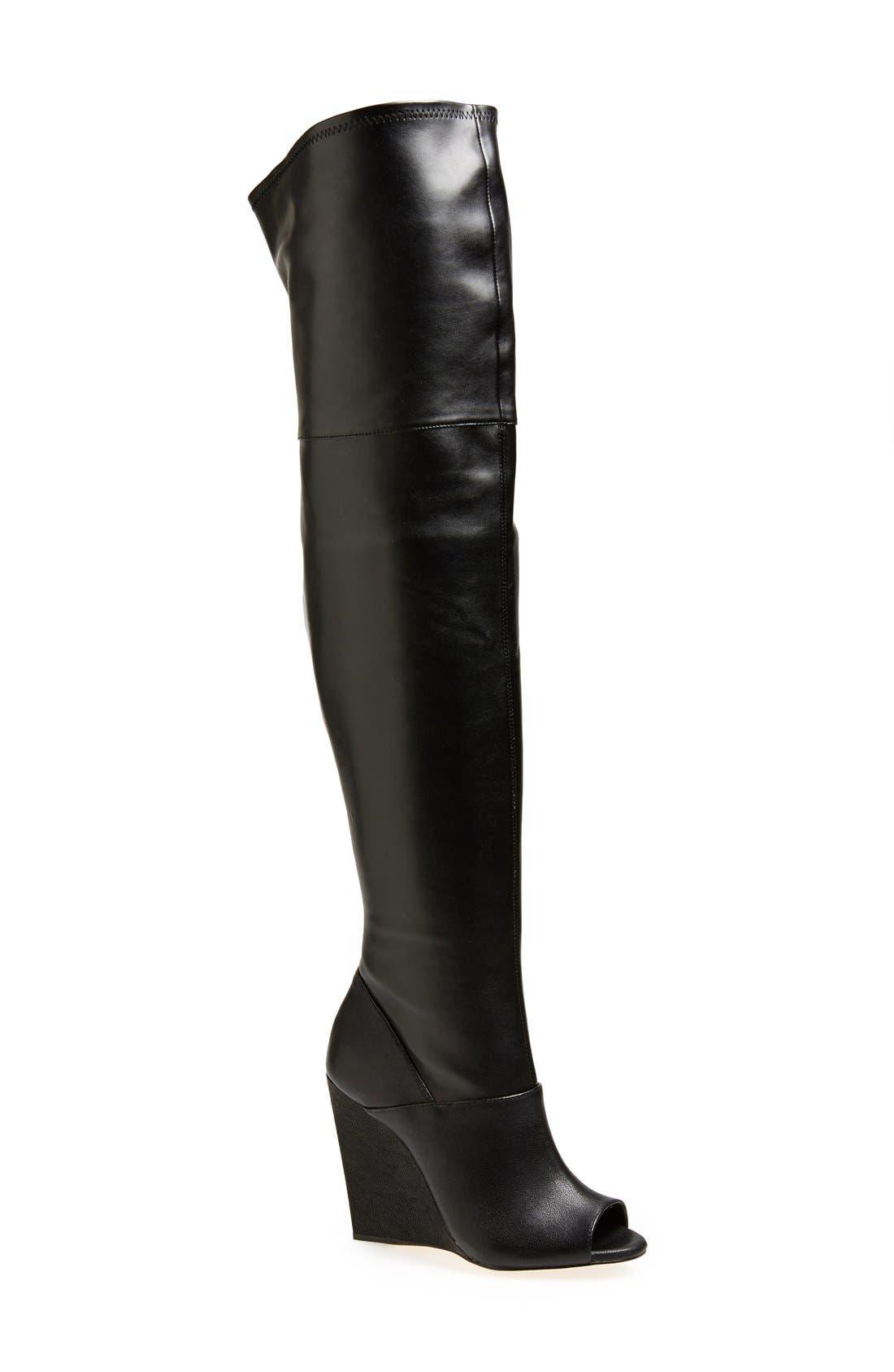 BCBGMAXAZRIA 'Deanna' Over the Knee Leather Peep Toe Boot, Main, color, 001