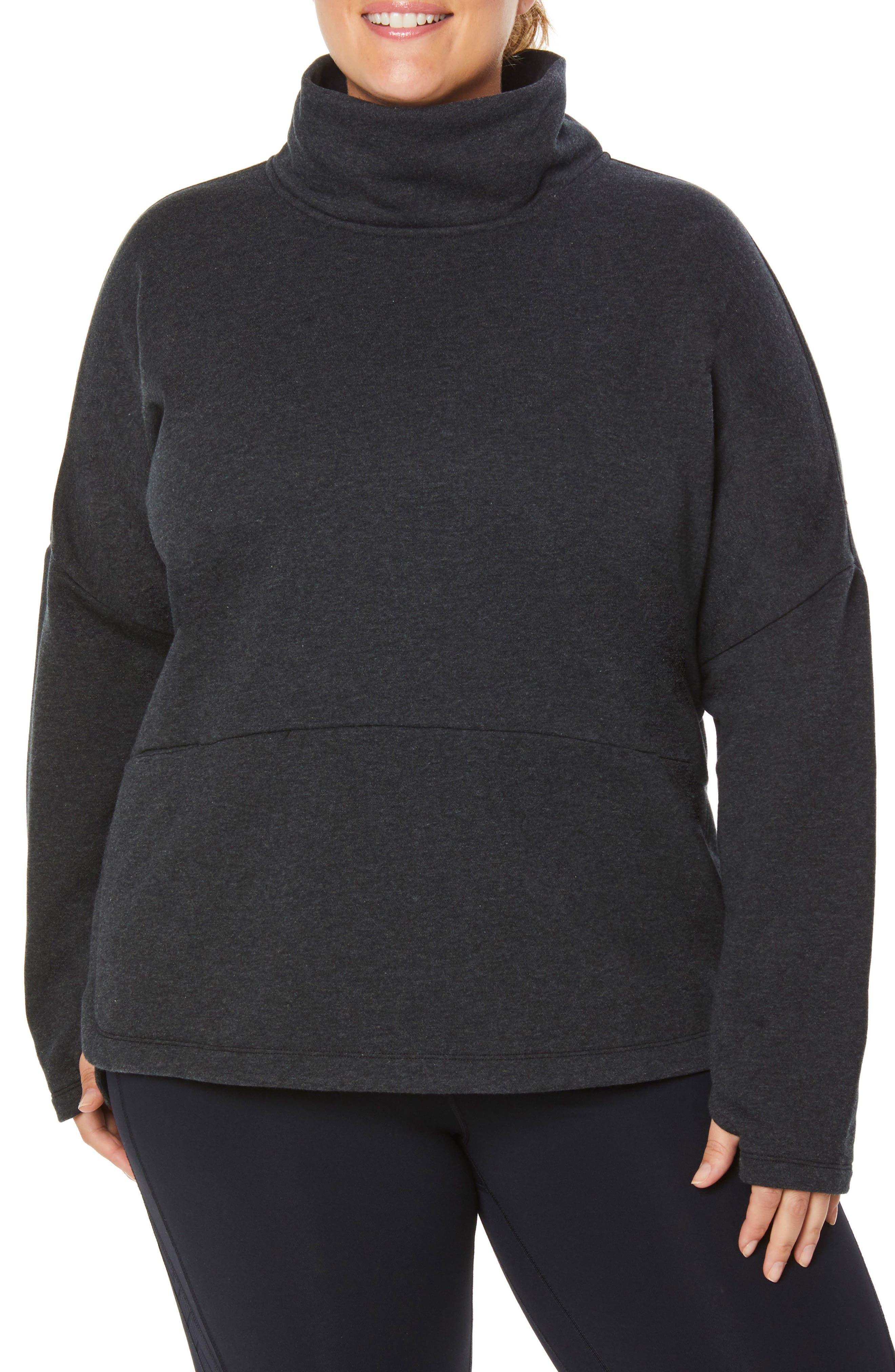 Plus Size Shape Activewear Mock Neck Pullover