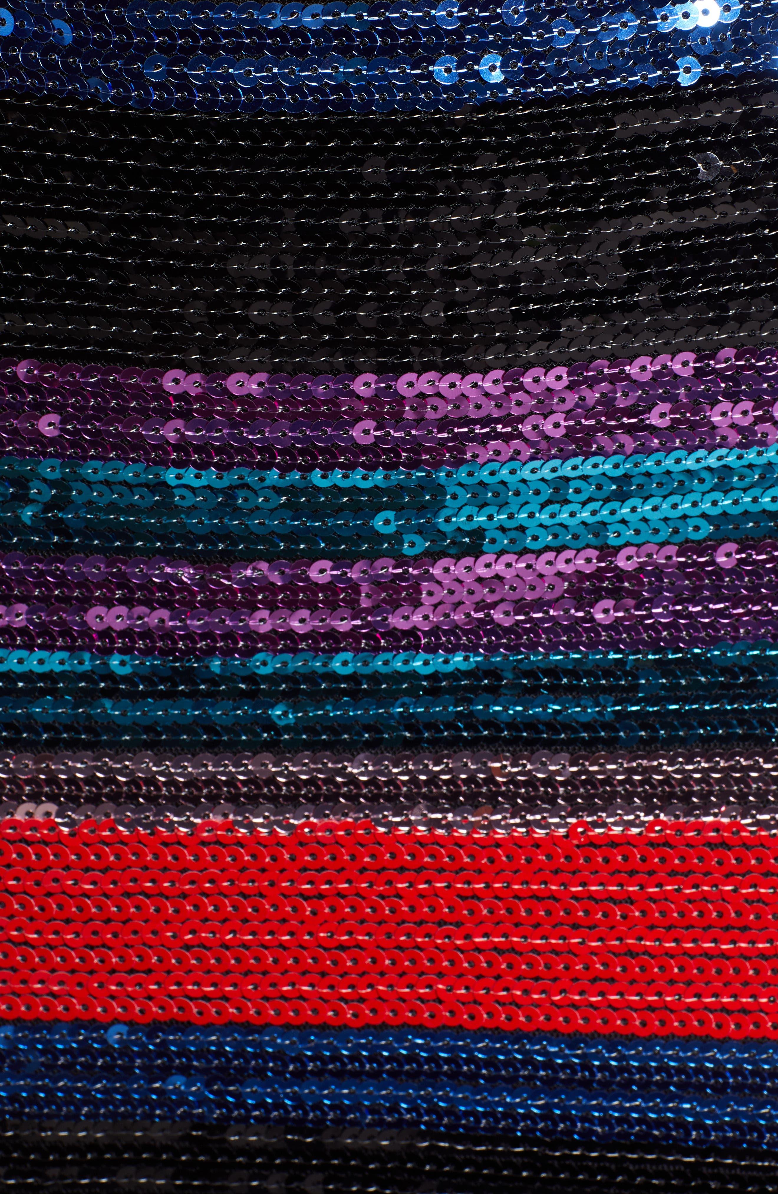 Manfi Lace-Up Back Sequin Stripe Minidress,                             Alternate thumbnail 6, color,                             RED SEQUIN STRIPE