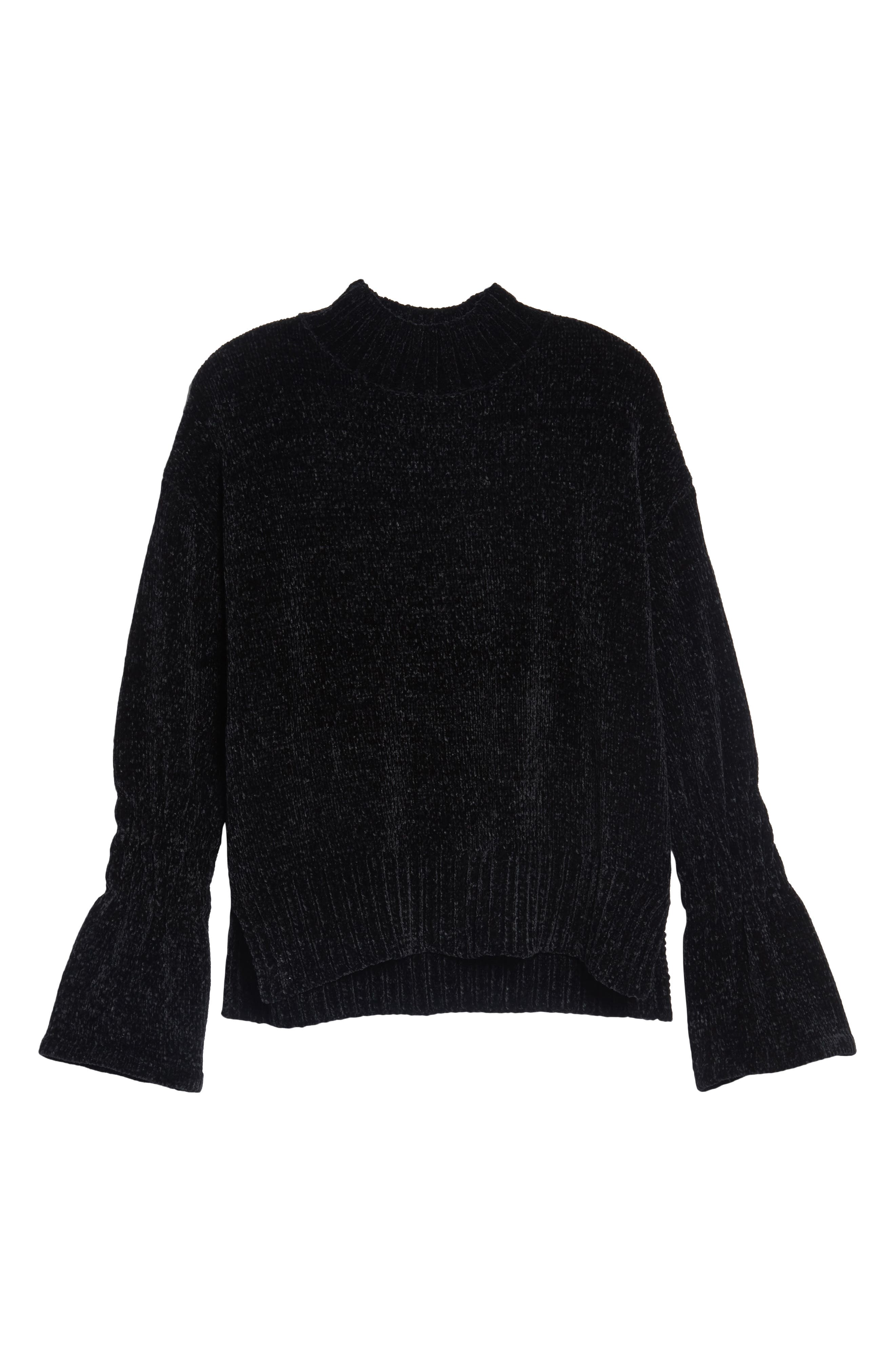 Bell Cuff Sweater,                             Alternate thumbnail 6, color,                             001