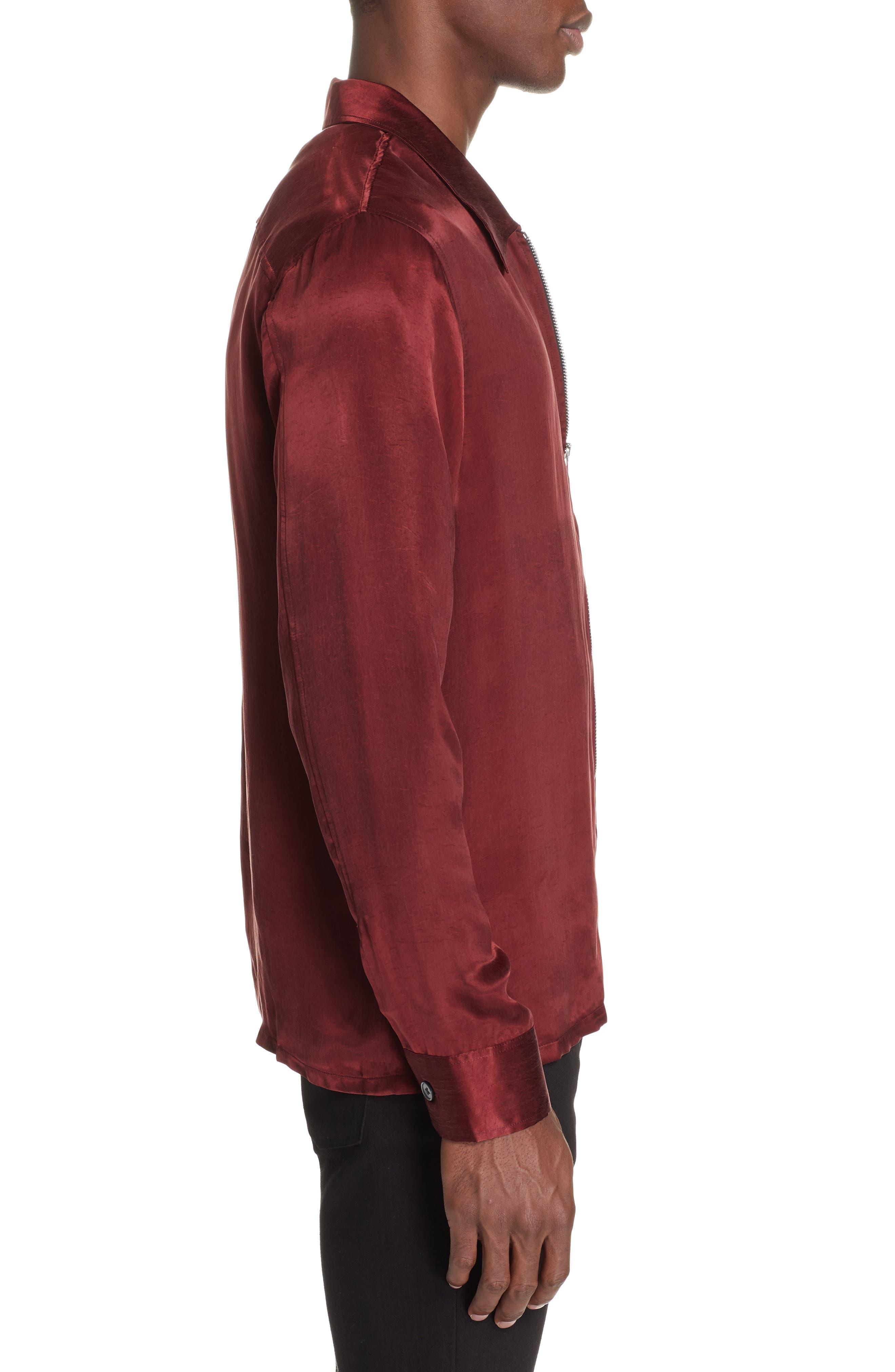 Long Sleeve Zip Shirt,                             Alternate thumbnail 3, color,                             RED