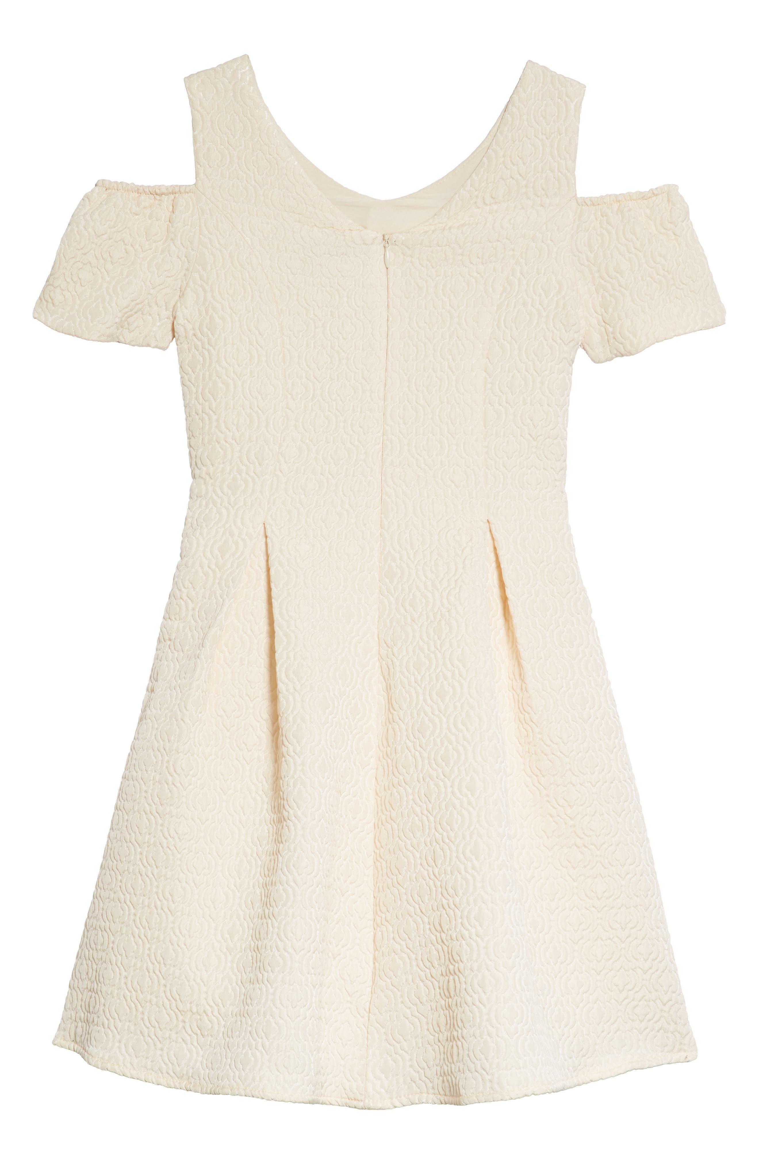Cold Shoulder Fit & Flare Dress,                             Alternate thumbnail 4, color,