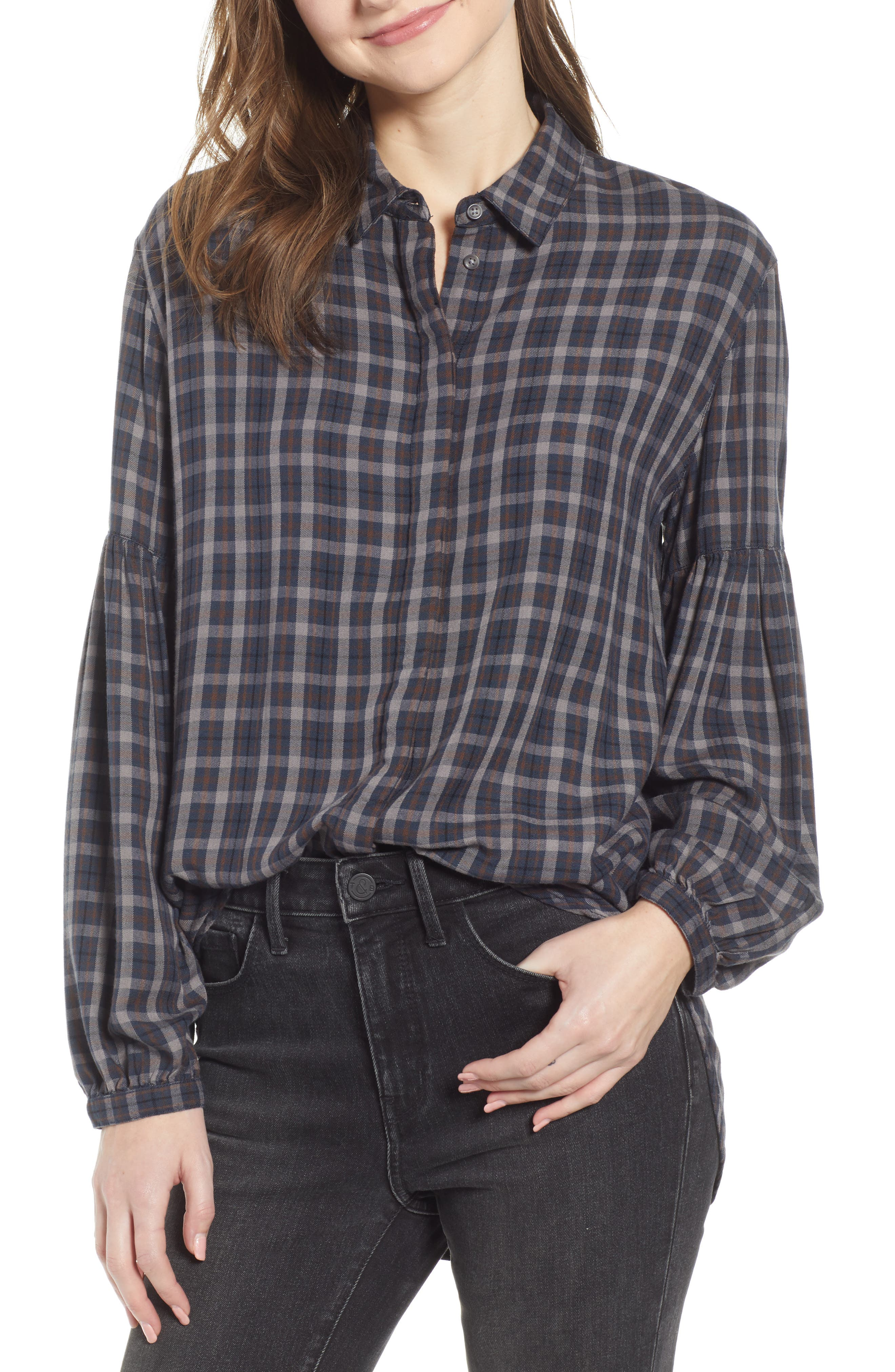 Puff Sleeve Boyfriend Shirt,                         Main,                         color, BURGNDY RUSSET OPEN GLEN PLAID
