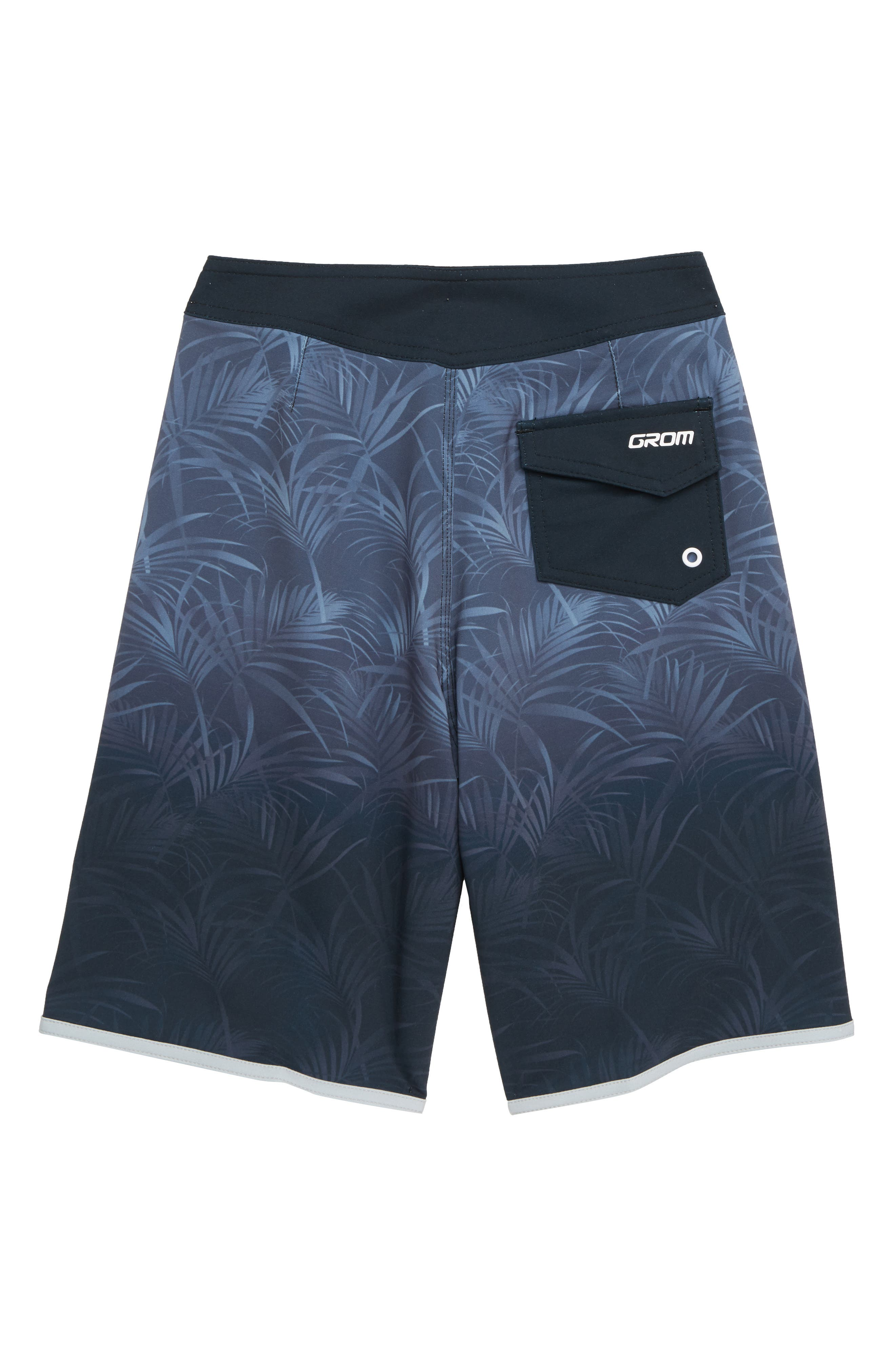 Palm Fade Board Shorts,                             Alternate thumbnail 2, color,                             BLACK