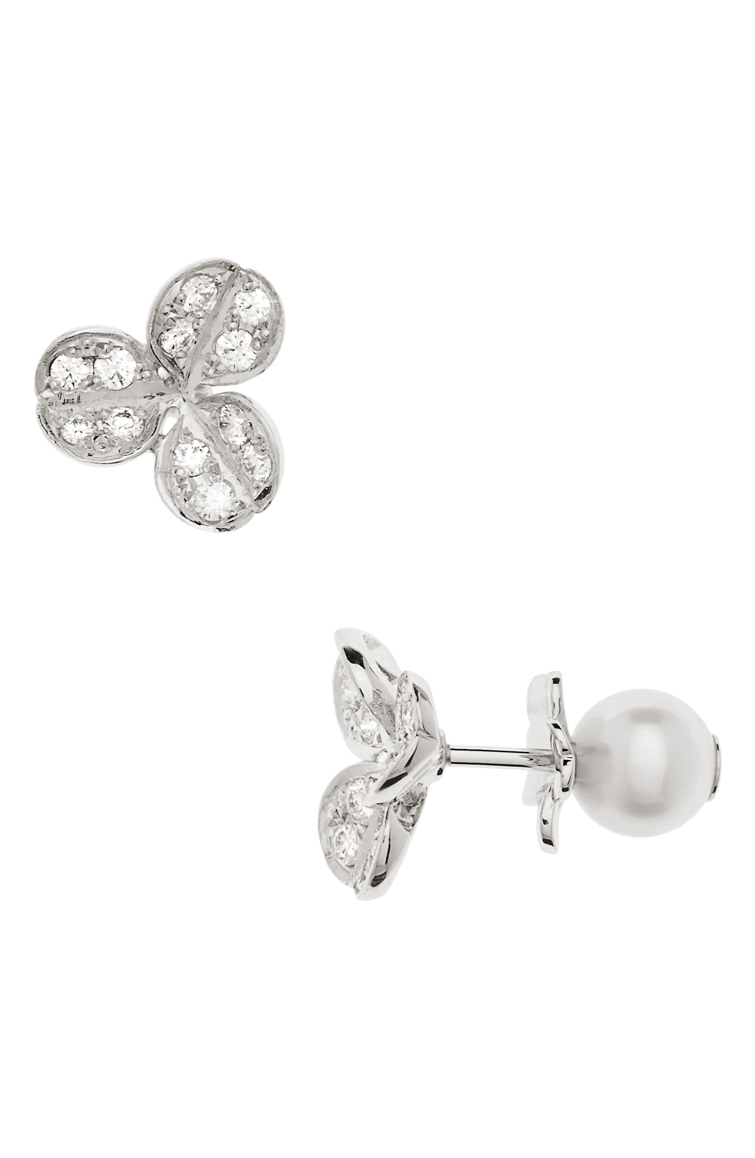 Pearl & Diamond Front/Back Earrings,                         Main,                         color, WHITE GOLD
