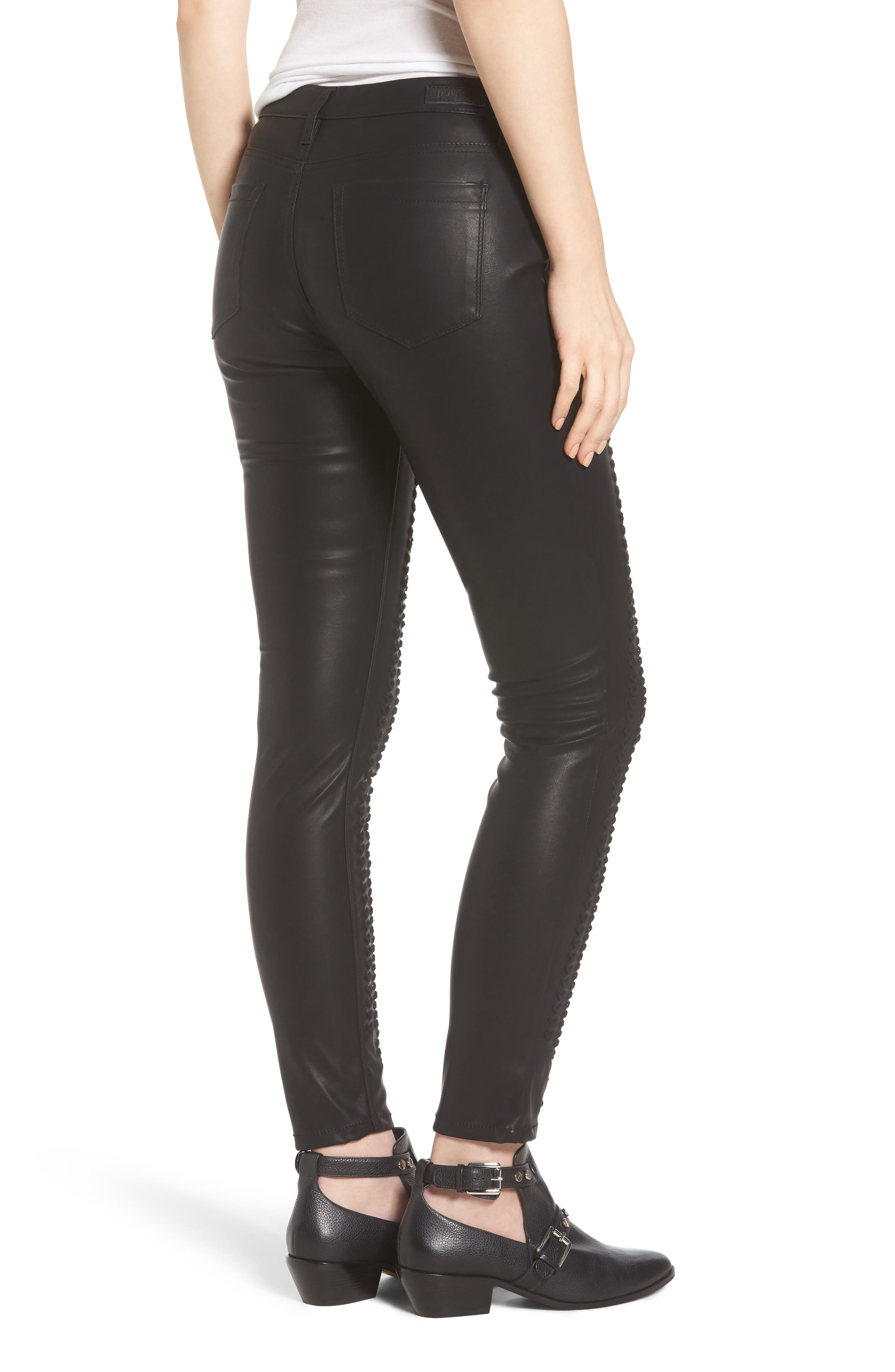 Whipstitch Ankle Skinny Faux Leather Pants,                             Alternate thumbnail 2, color,                             001