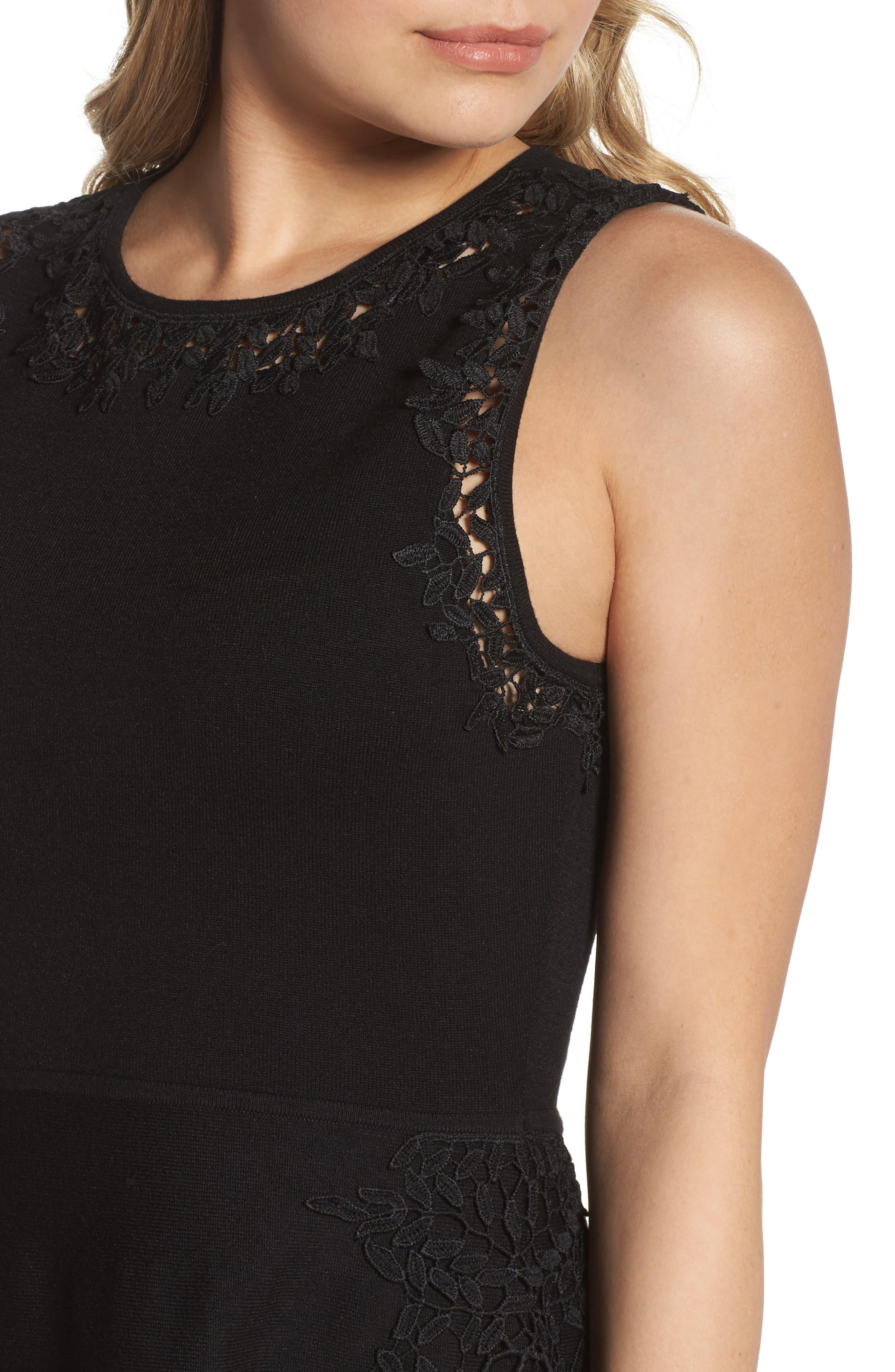 Lace Inset Fit & Flare Dress,                             Alternate thumbnail 4, color,                             001