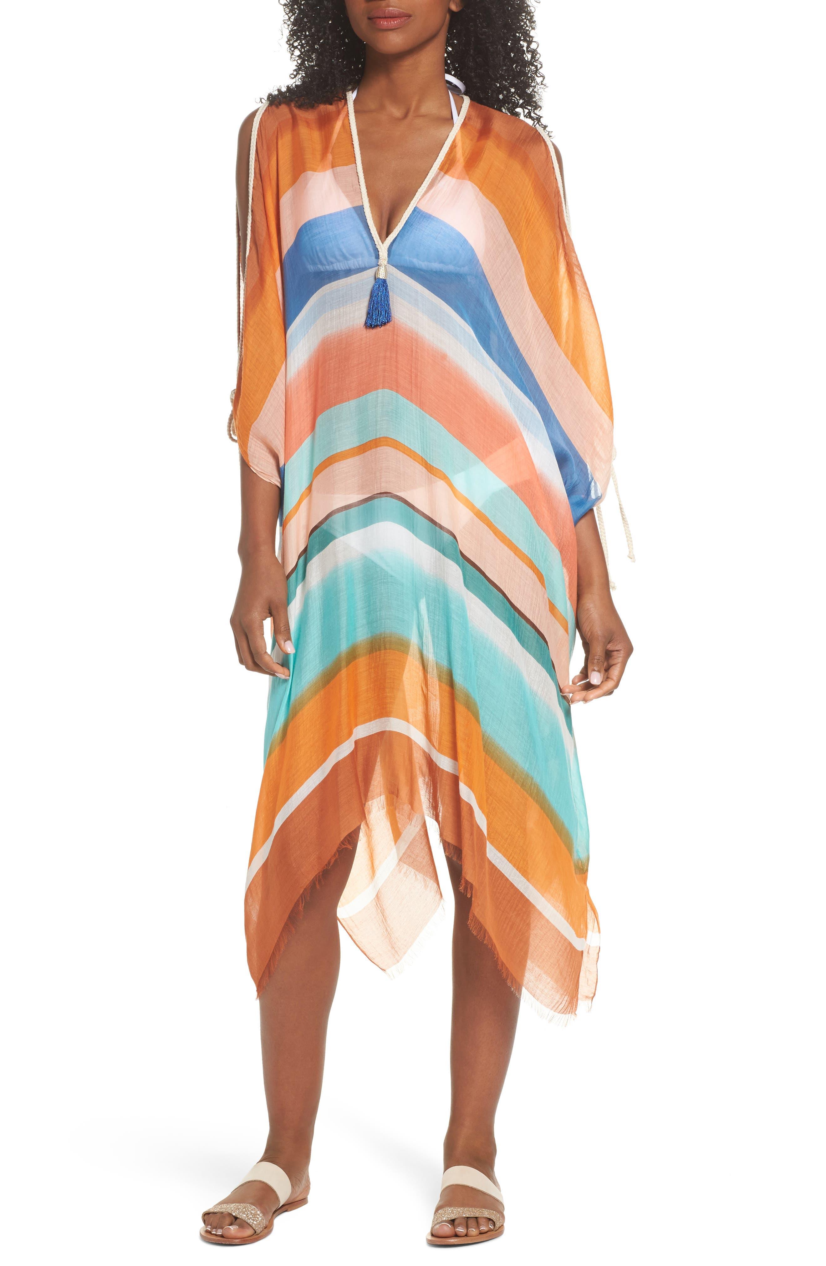Stripe Cover-Up Caftan,                         Main,                         color, 801