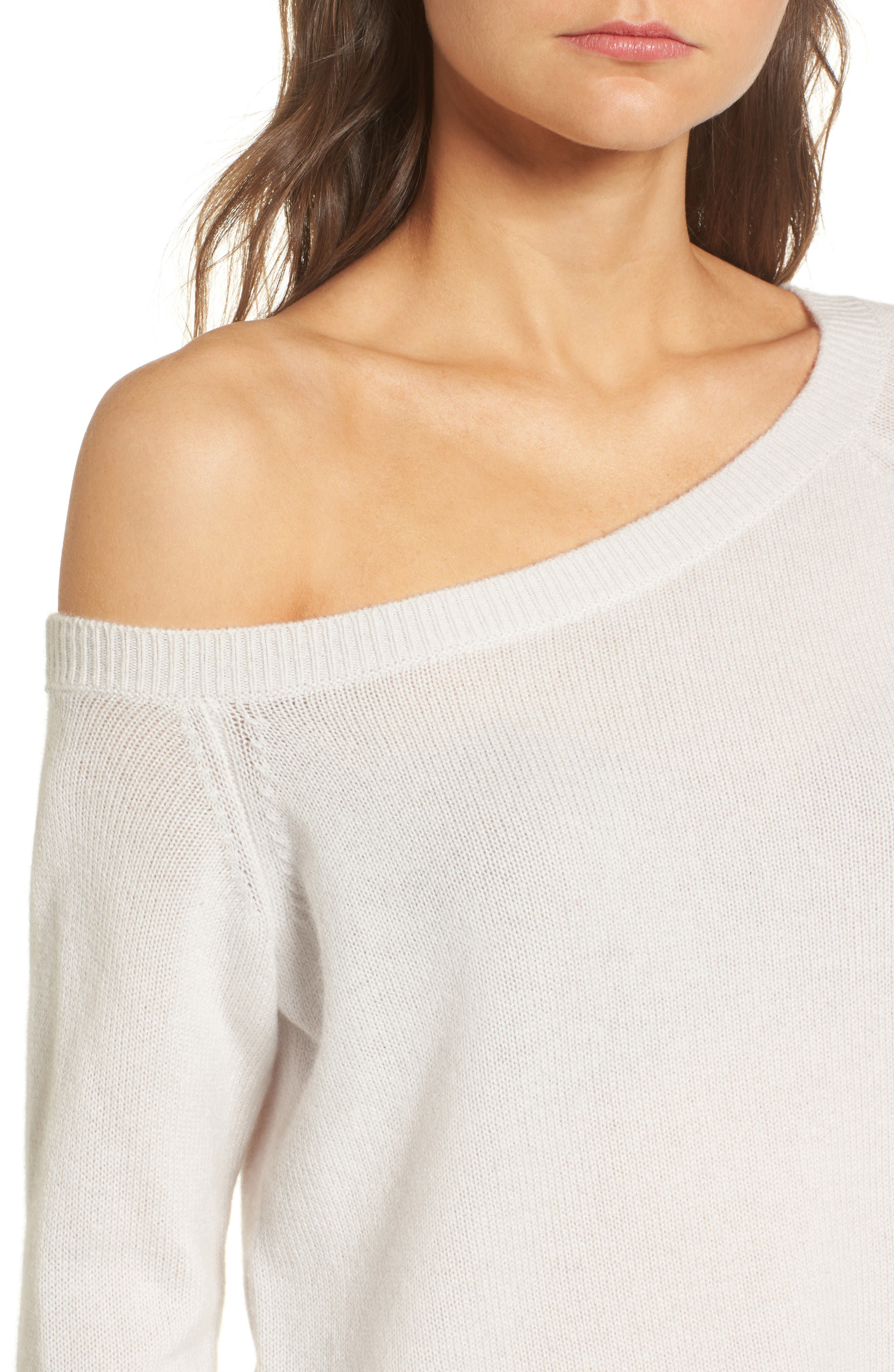Off the Shoulder Cashmere Sweater,                             Alternate thumbnail 4, color,