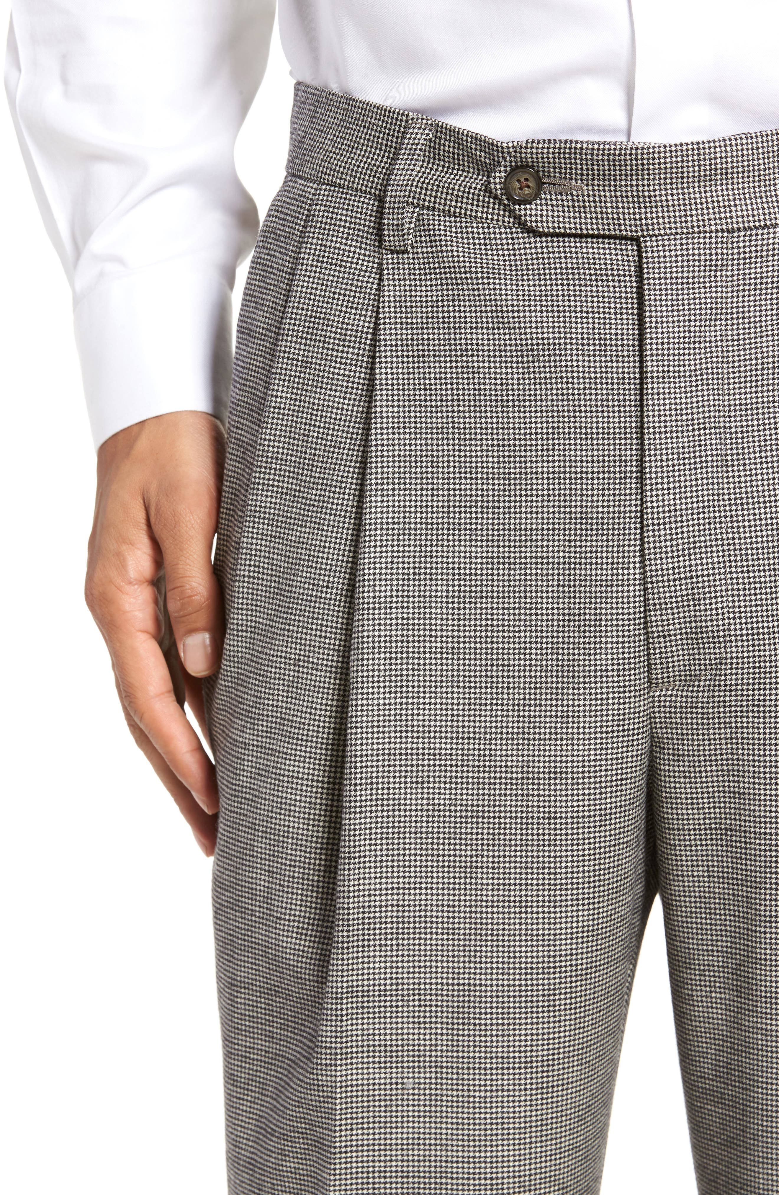 Pleated Stretch Houndstooth Wool Trousers,                             Alternate thumbnail 5, color,                             BLACK/ WHITE