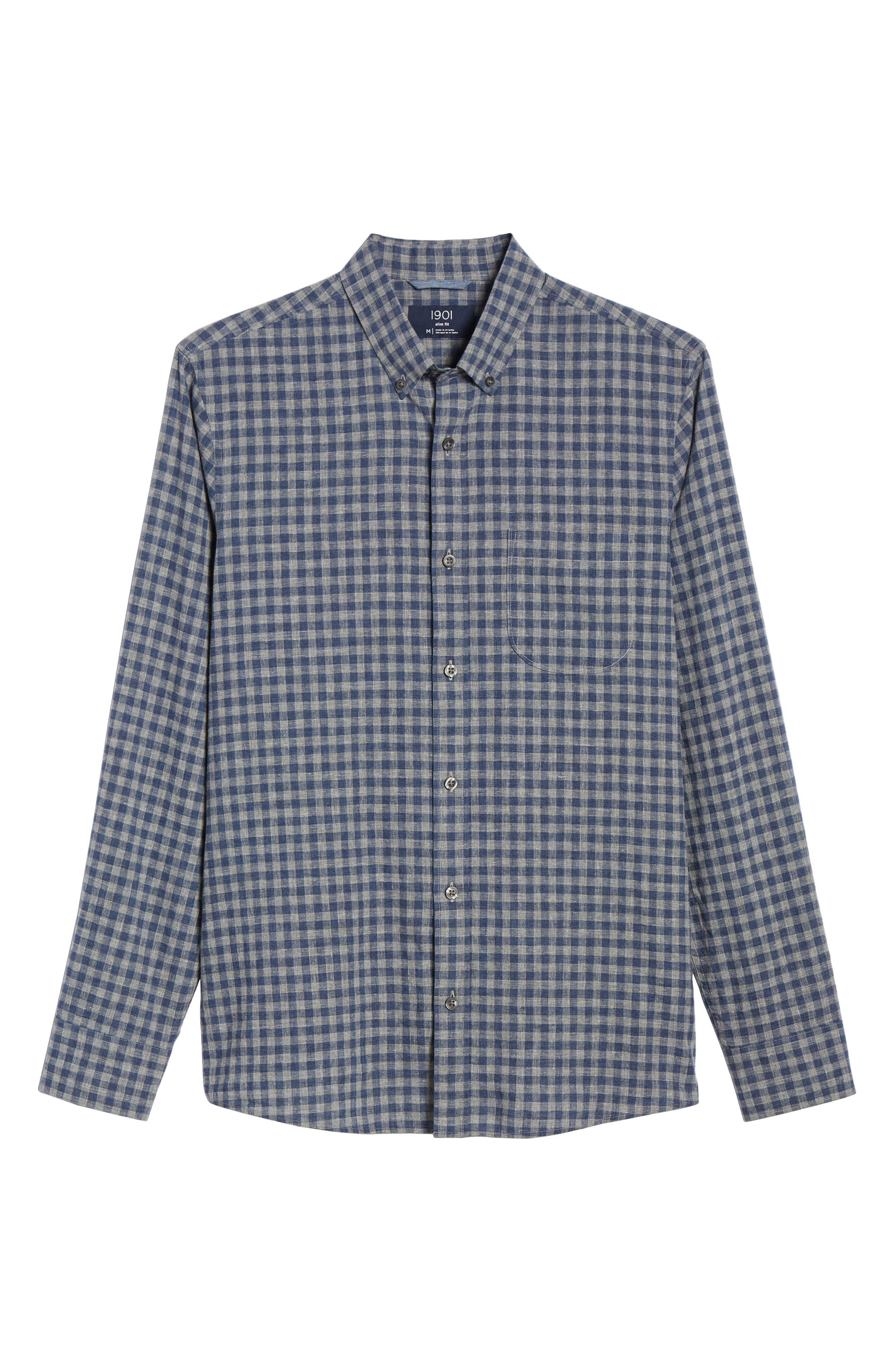 1901,                             Button Down Heather Gingham Linen Blend Sport Shirt,                             Alternate thumbnail 5, color,                             GREY OIL NAVY GINGHAM