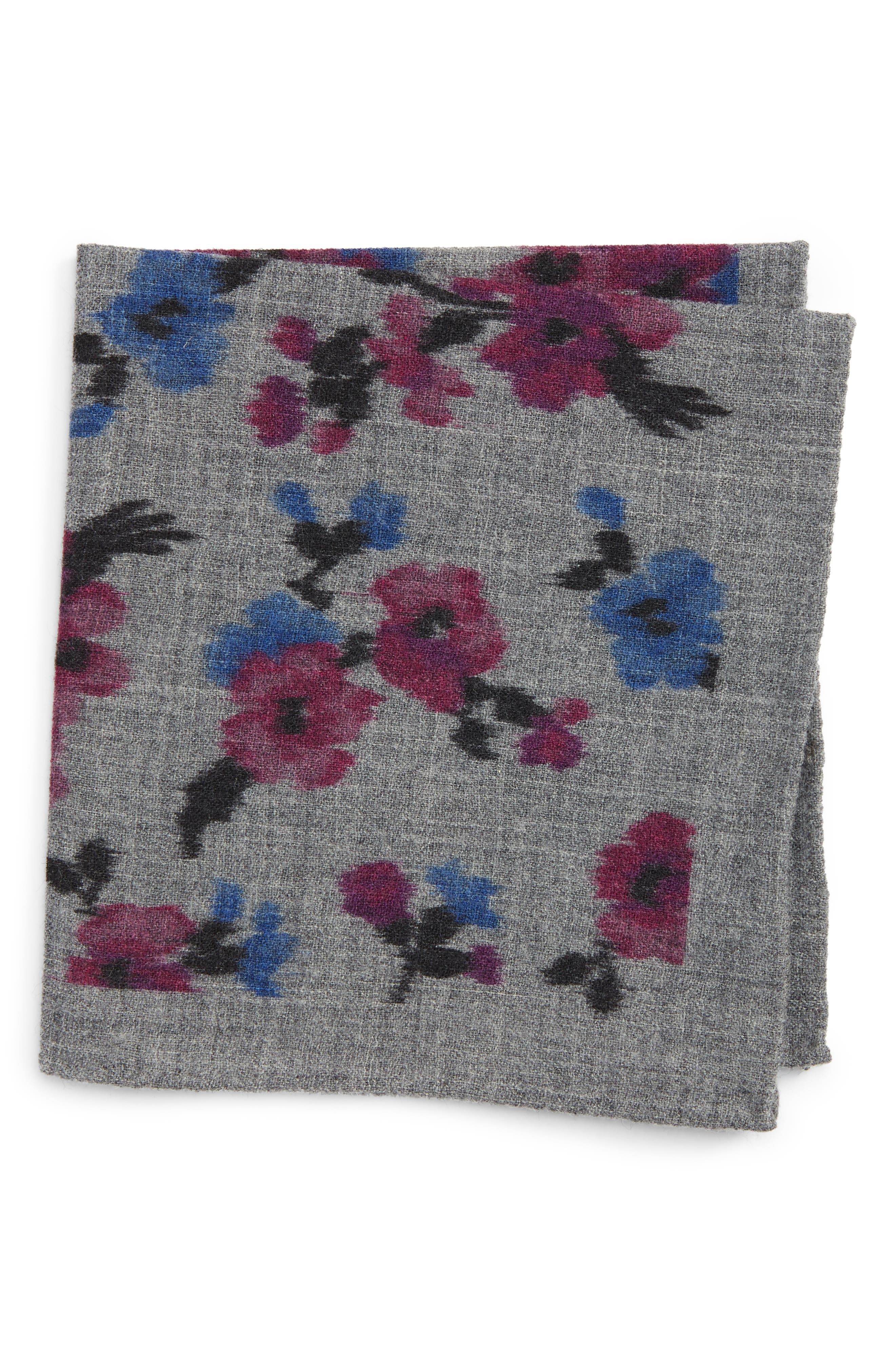 Floral Wool Pocket Square,                         Main,                         color, 020
