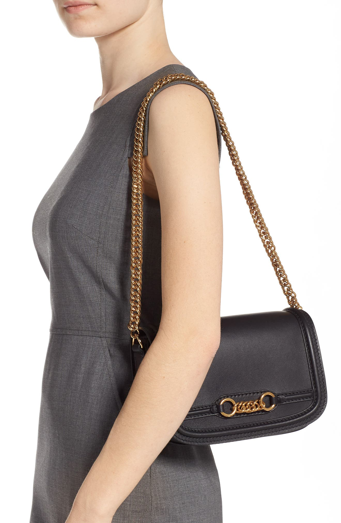 Link Flap Leather Crossbody Bag,                             Alternate thumbnail 2, color,                             BLACK