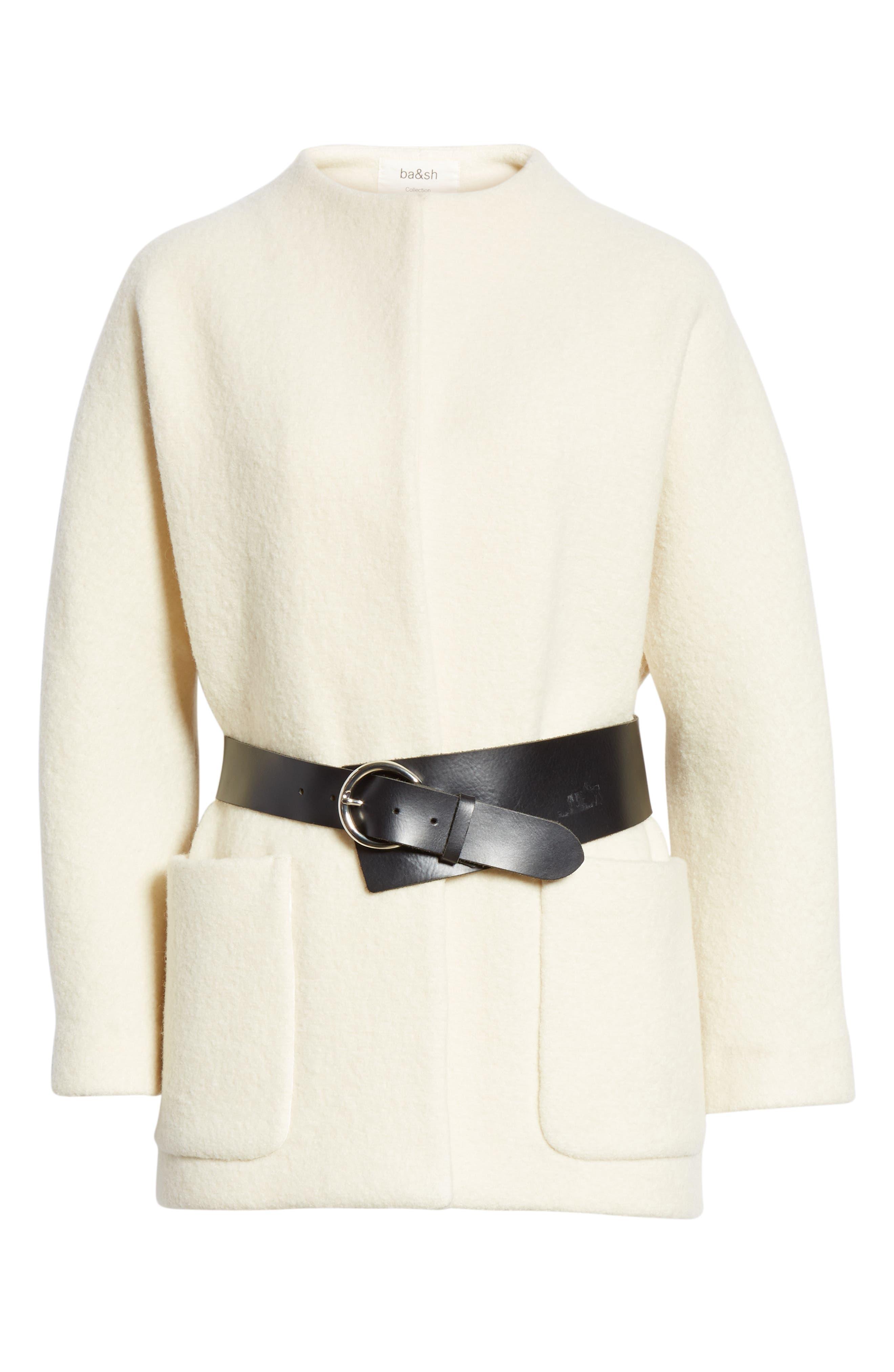 Clif Belted Wool Coat,                             Alternate thumbnail 5, color,                             ECRU