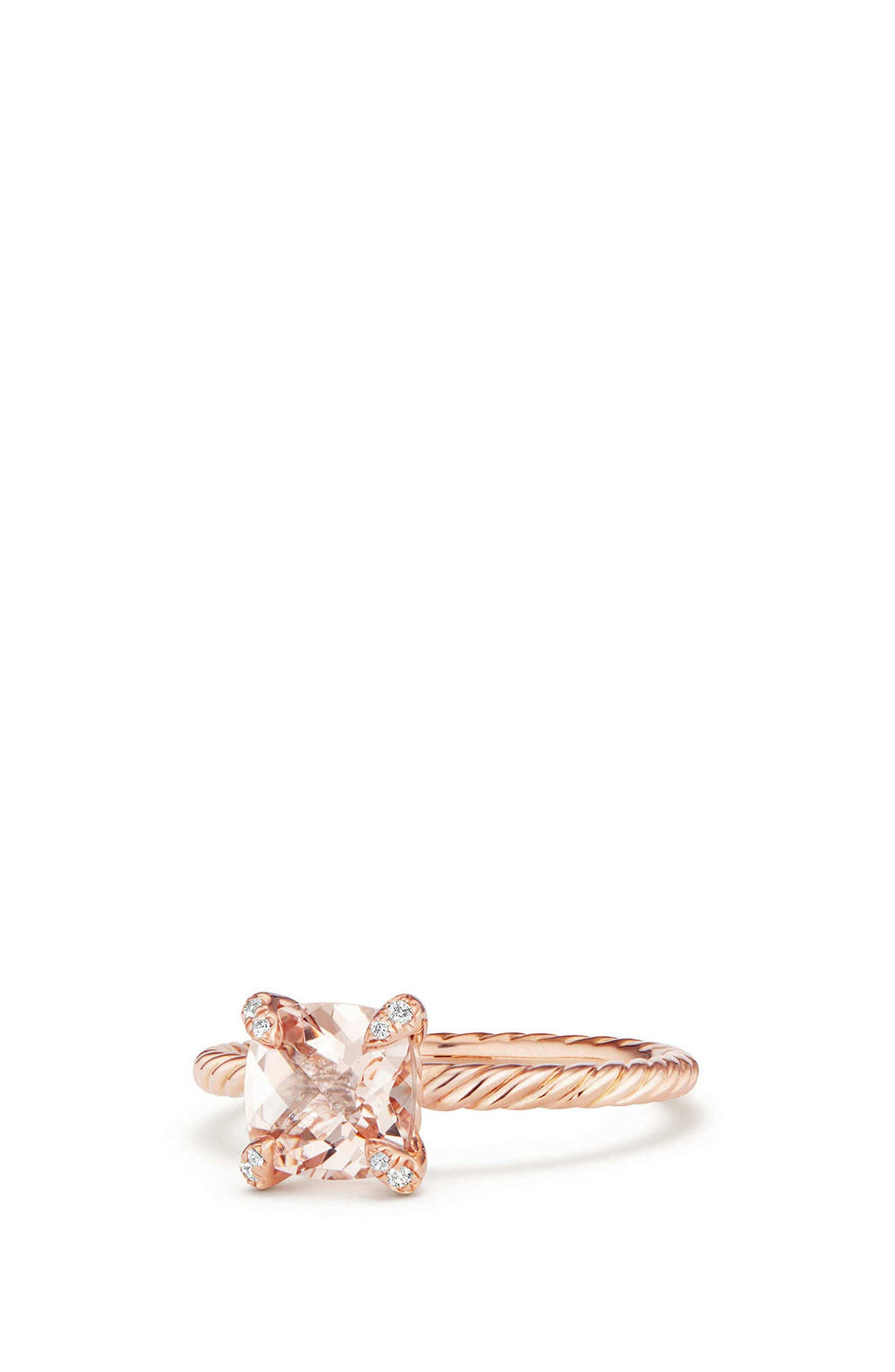 Chatelaine Ring with Morganite and Diamonds in 18K Rose Gold,                             Alternate thumbnail 3, color,                             ROSE GOLD/ DIAMOND/ MORGANITE