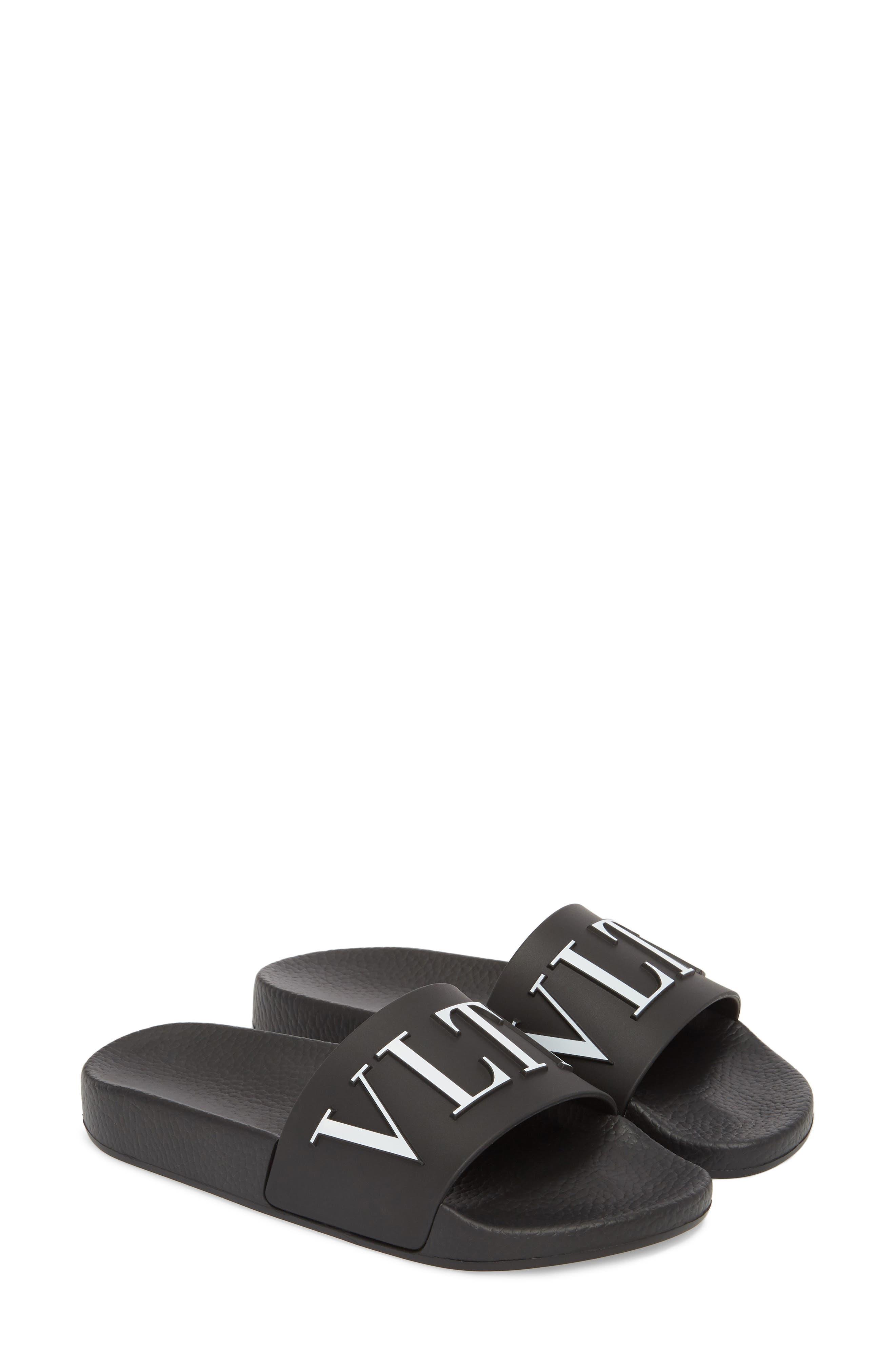Logo Slide Sandal,                             Main thumbnail 1, color,                             BLACK/ WHITE