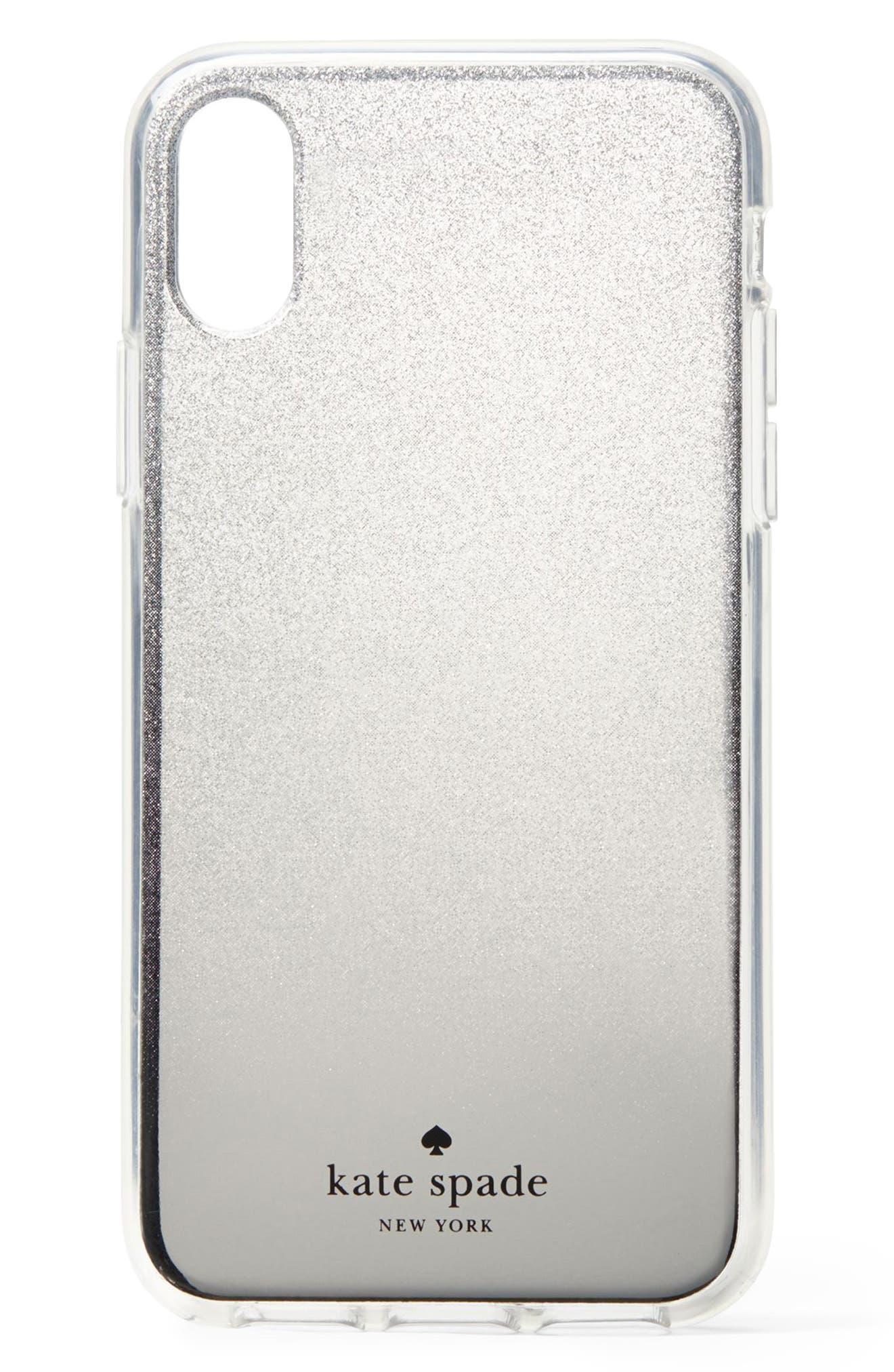 glitter ombré iPhone X/Xs/Xs Max & XR case,                             Main thumbnail 1, color,                             SILVER