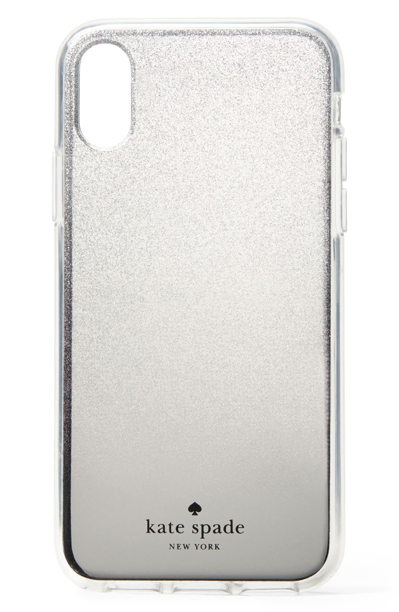 glitter ombré iPhone X/Xs/Xs Max & XR case, Main, color, SILVER