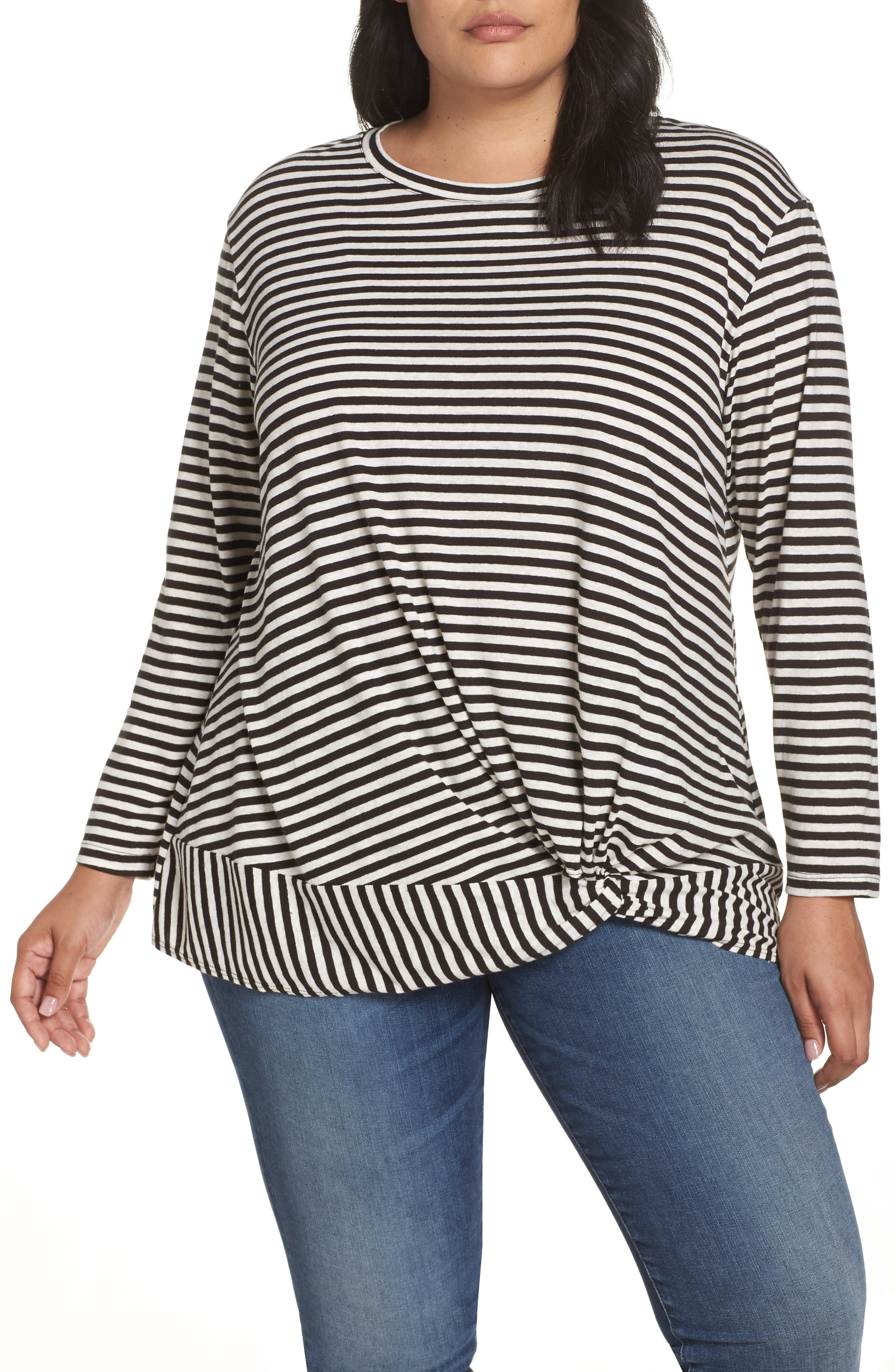 Knot Front Long Sleeve Tee,                             Main thumbnail 1, color,                             IVORY- BLACK EVEN STRIPE