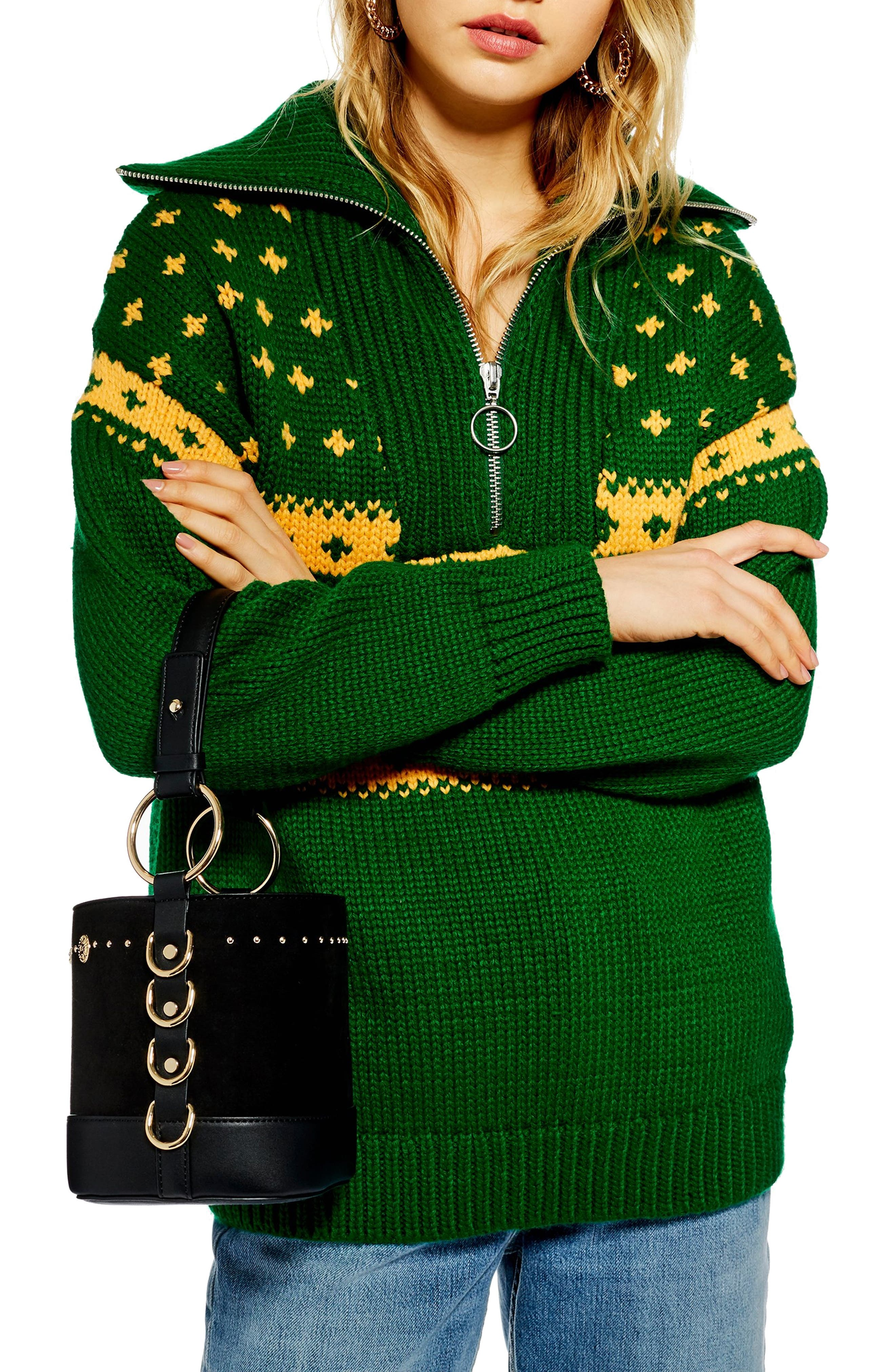 Fair Isle Zip Collar Sweater,                             Main thumbnail 1, color,                             GREEN MULTI