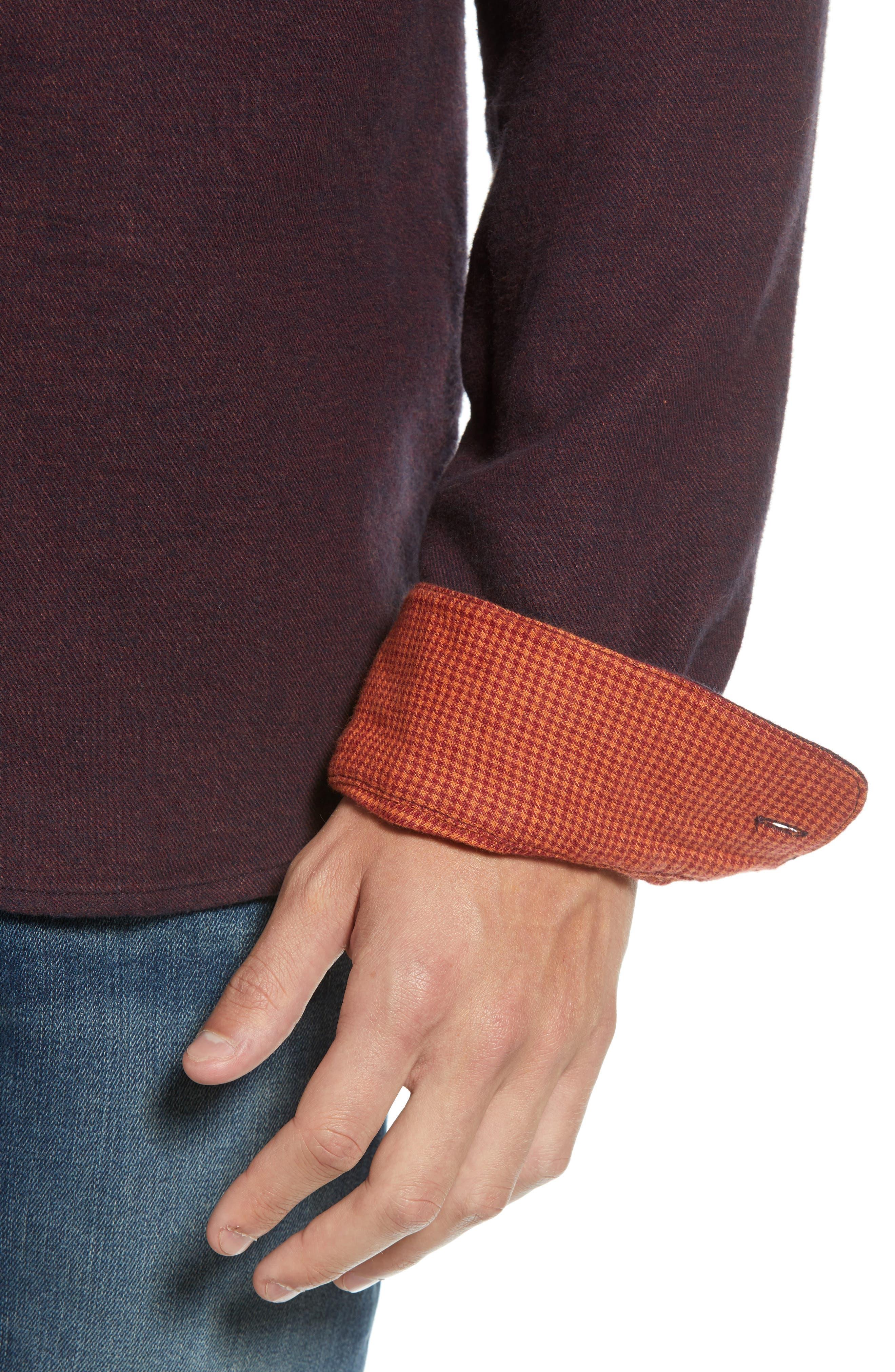 Regular Fit Button Down Sport Shirt,                             Alternate thumbnail 2, color,                             DEEP PURPLE MELANGE