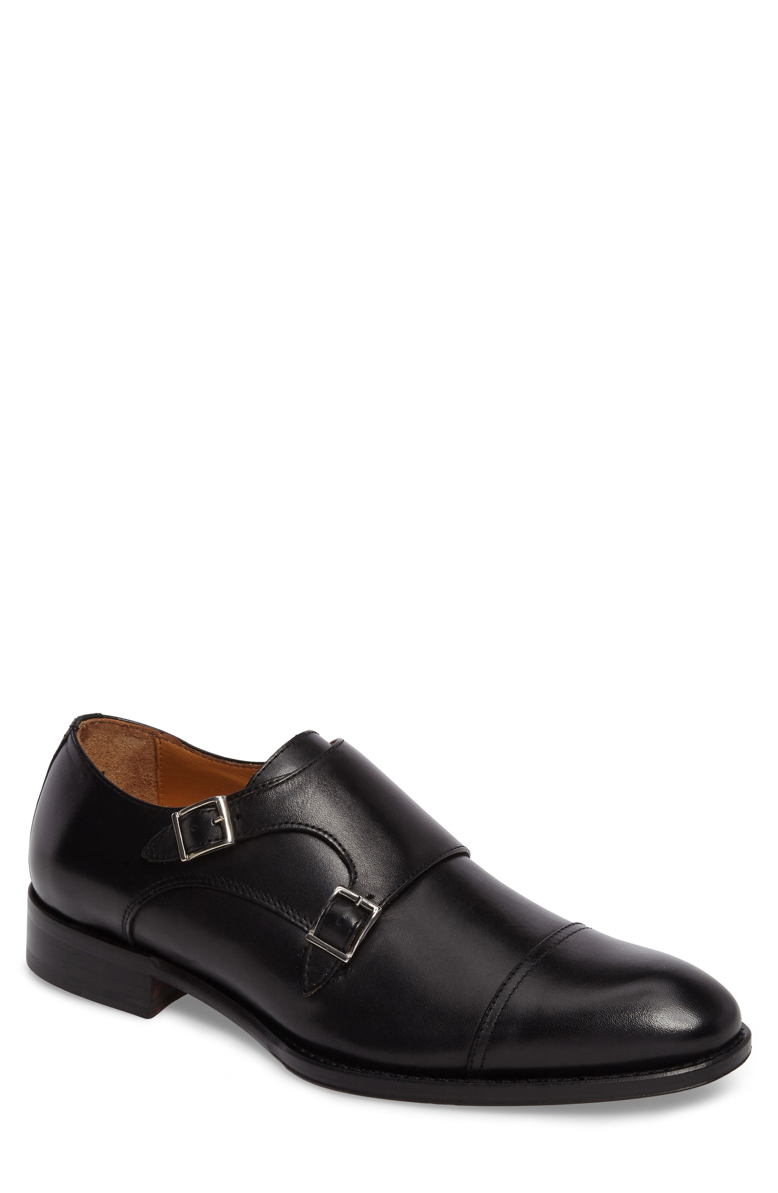 Stratton Double Monk Strap Shoe,                         Main,                         color, 001