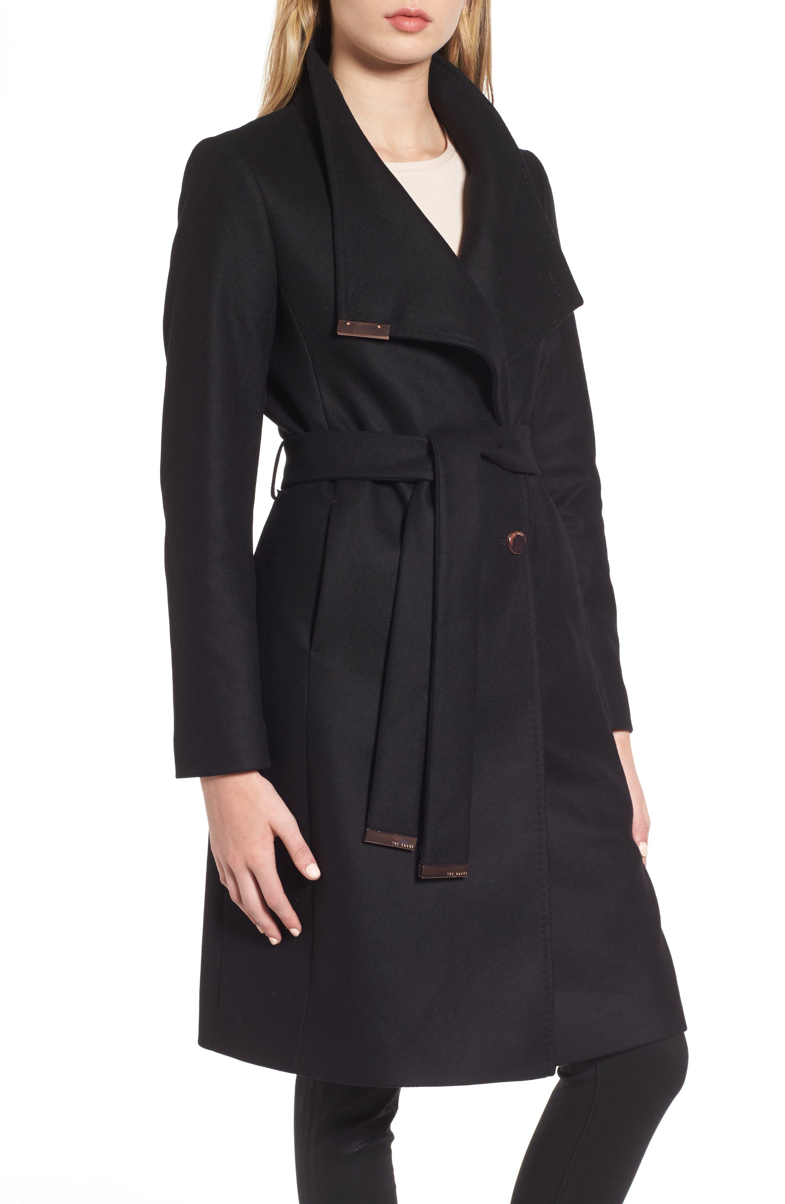 Wool Blend Long Wrap Coat,                         Main,                         color, BLACK