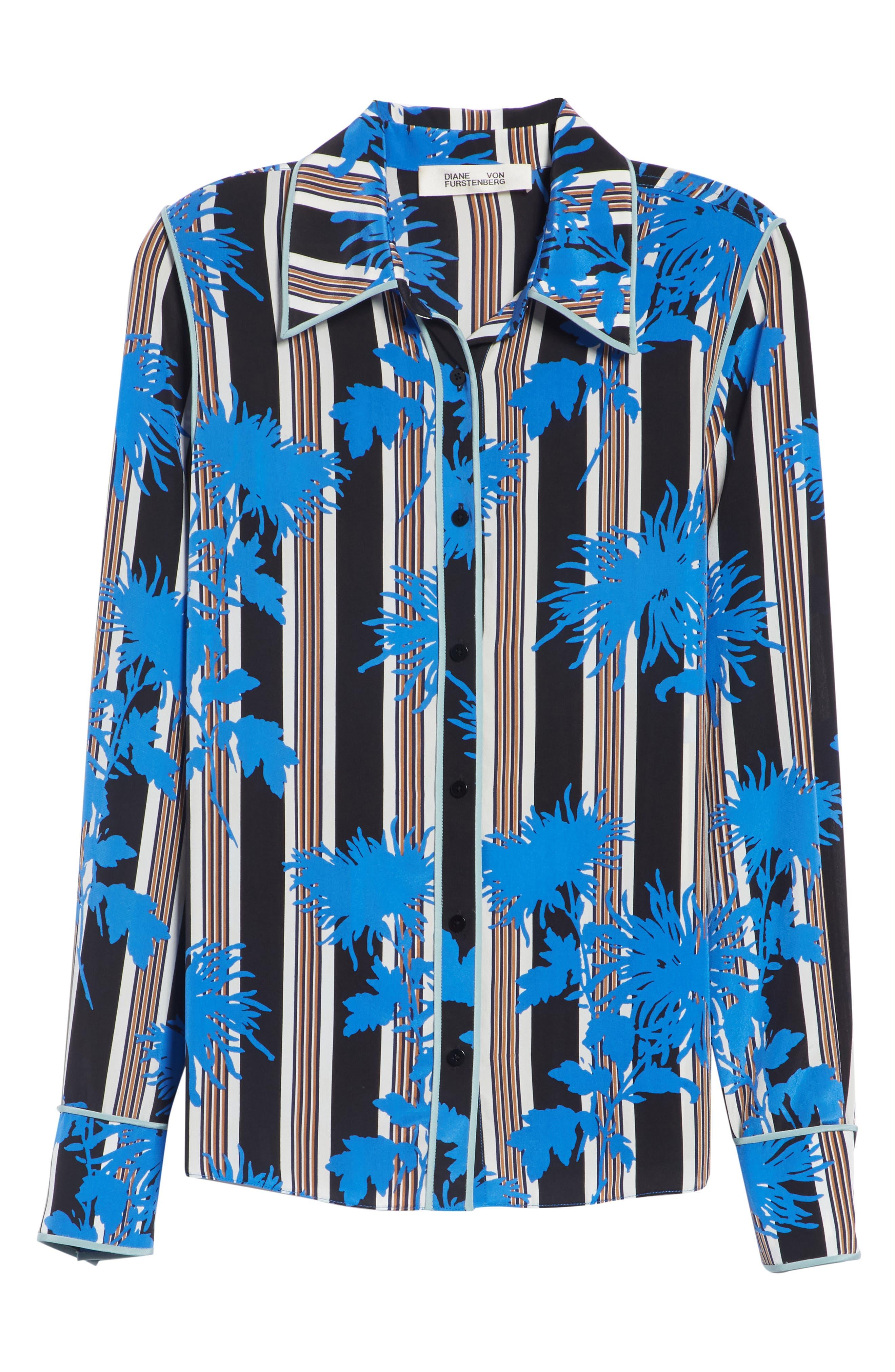 Diane von Furstenberg Floral Print Silk Shirt,                             Alternate thumbnail 6, color,                             SHELFORD B