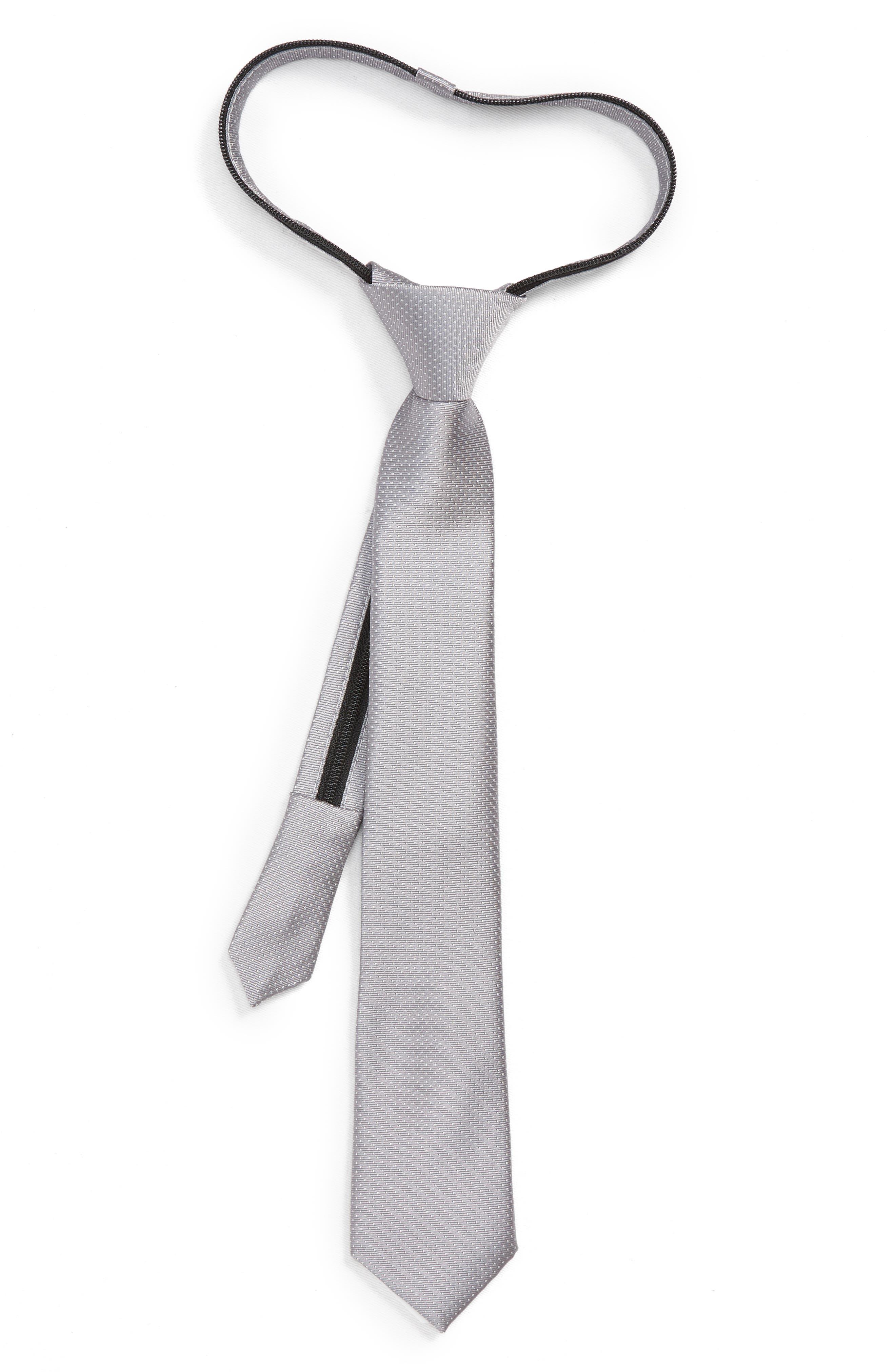 Dot Silk Zip Tie,                             Main thumbnail 1, color,                             GREY