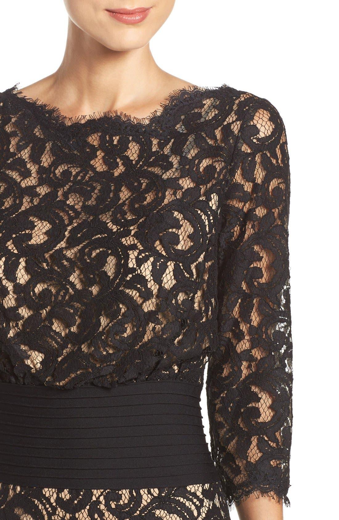 Pleat Waist Lace Blouson Dress,                             Alternate thumbnail 5, color,                             004