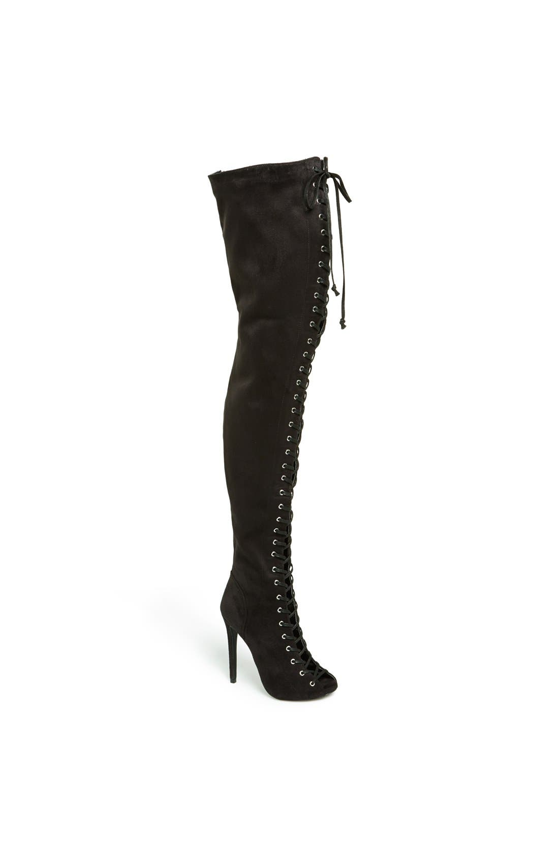 'Piarry' Lace-Up Thigh-High Boot, Main, color, 001