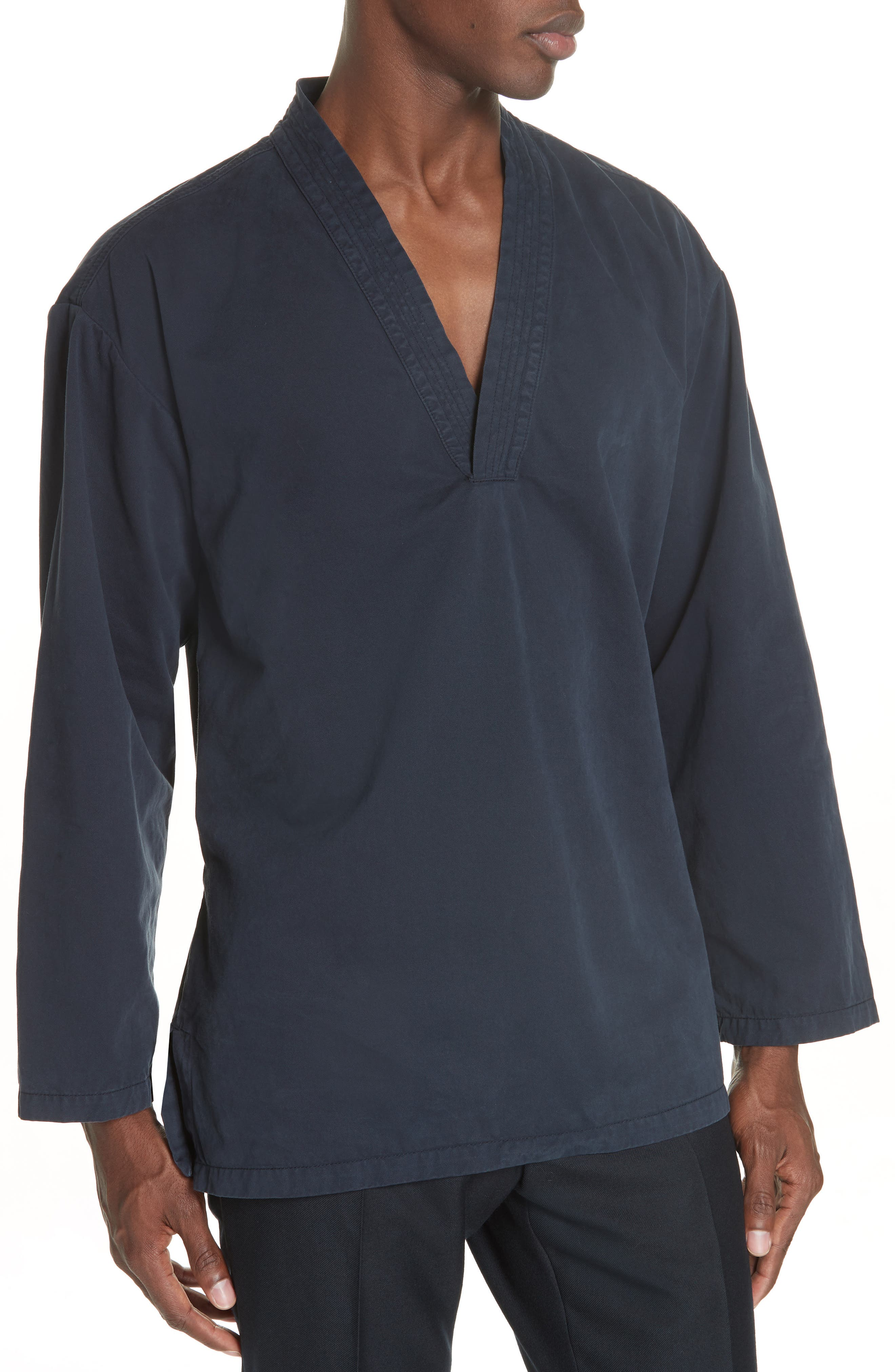 Canis Bis Kimono Pullover,                             Alternate thumbnail 4, color,                             NAVY 509