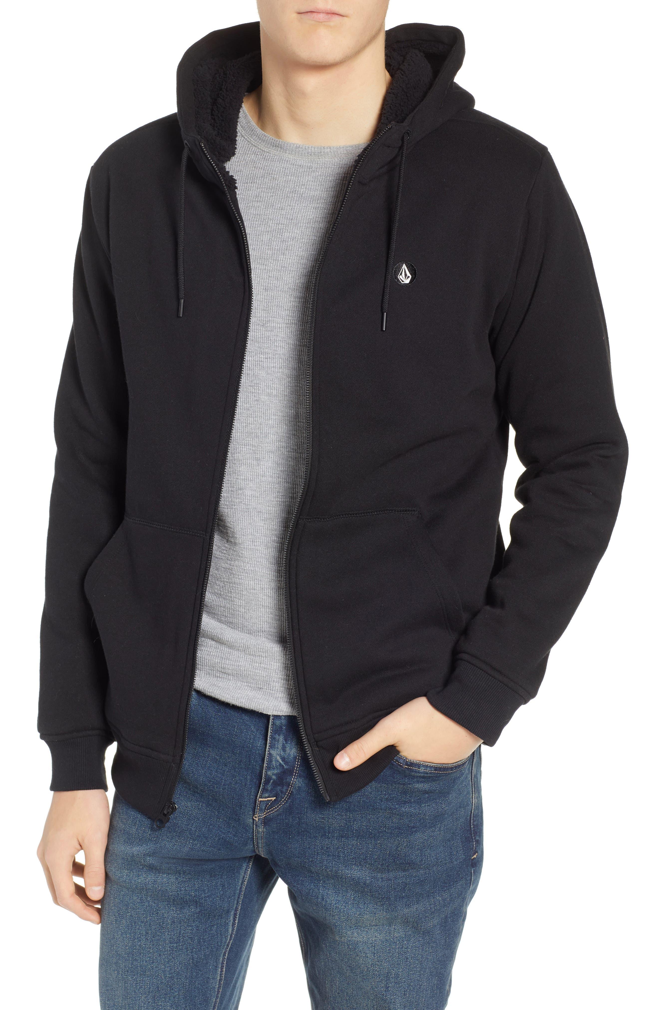 Single Stone Zip Hoodie,                         Main,                         color, BLACK