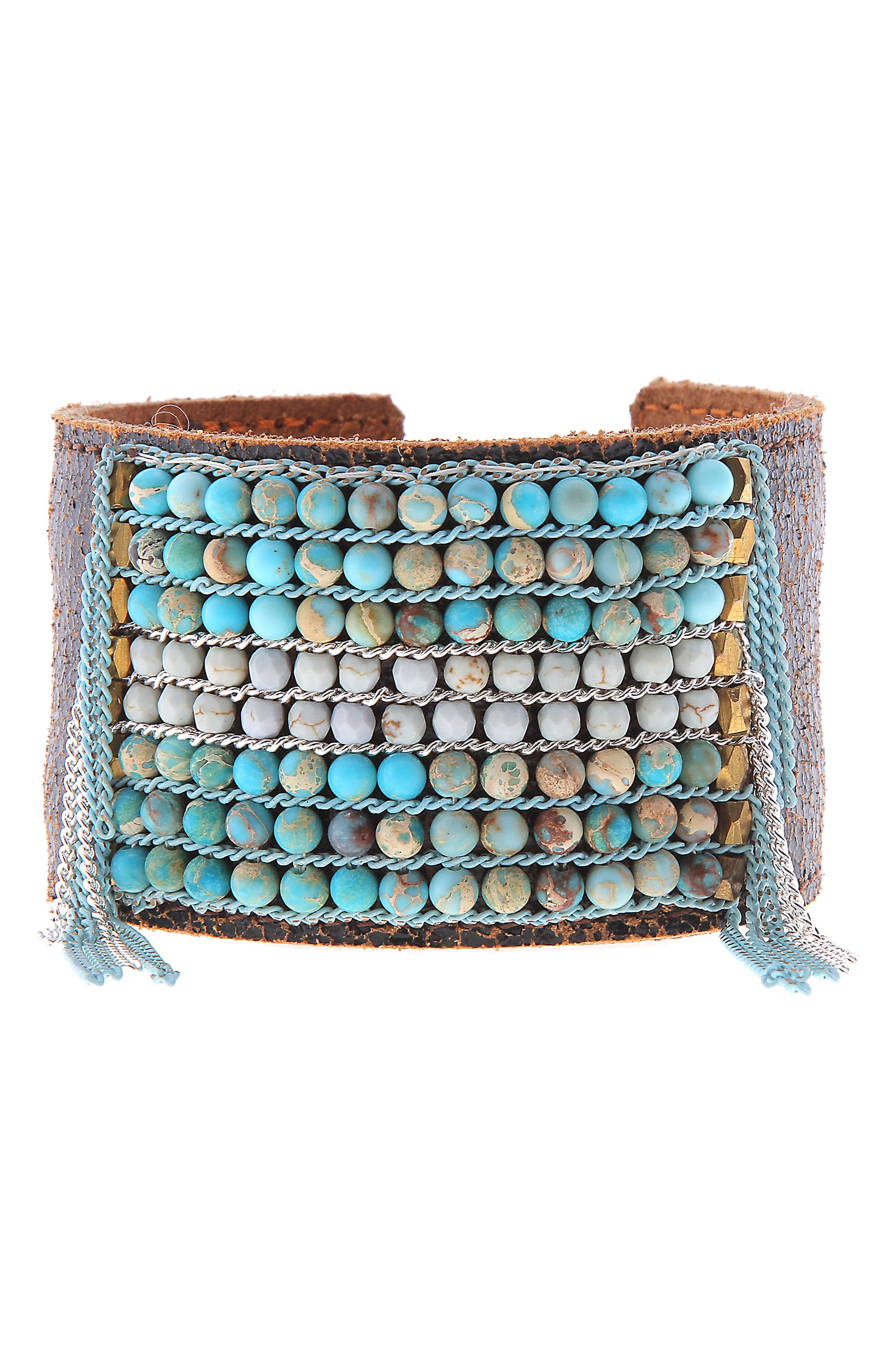 Stone Cuff Bracelet,                             Main thumbnail 1, color,                             TURQUOISE