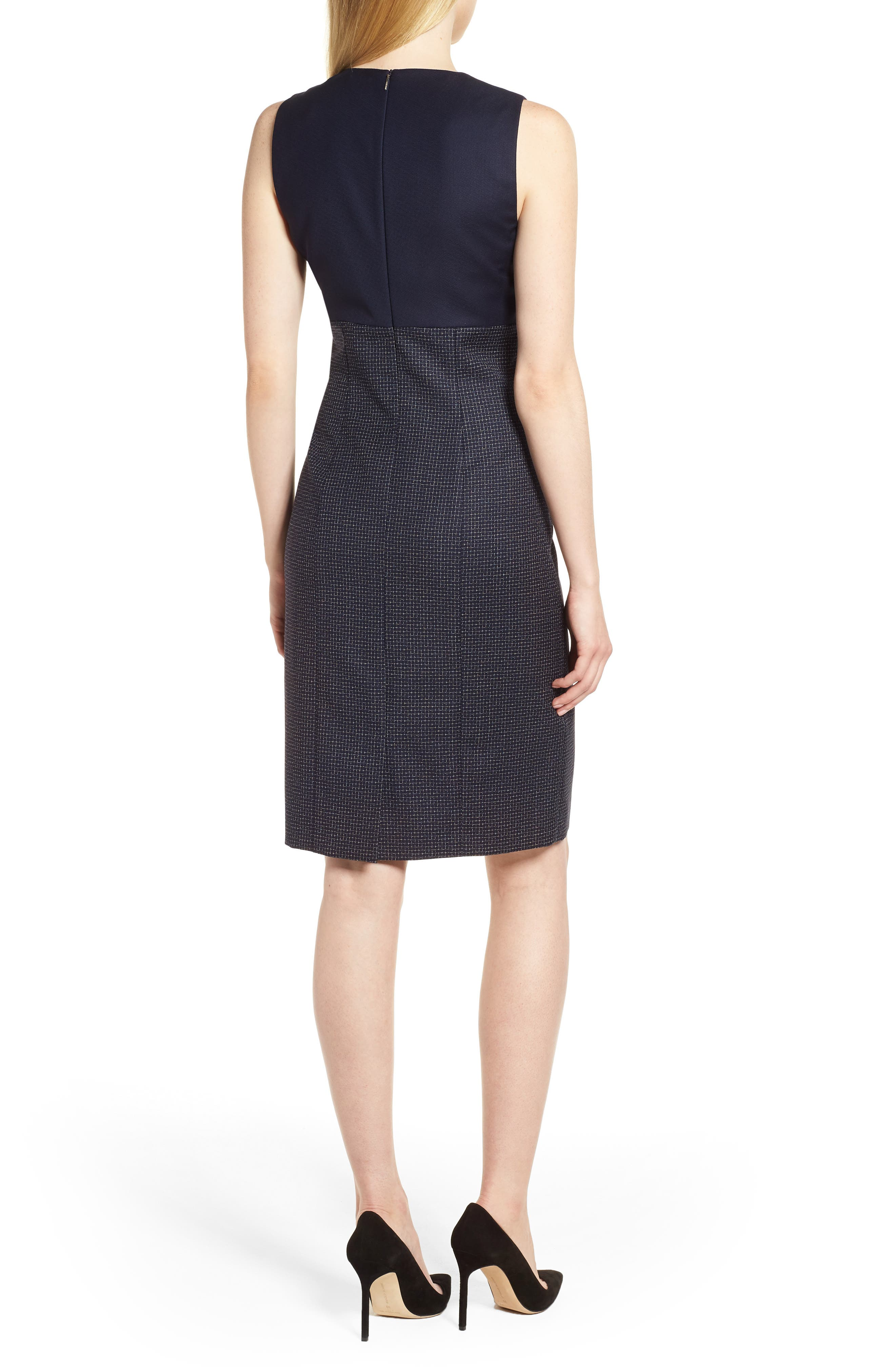 Dibena Windowpane Sheath Dress,                             Alternate thumbnail 2, color,