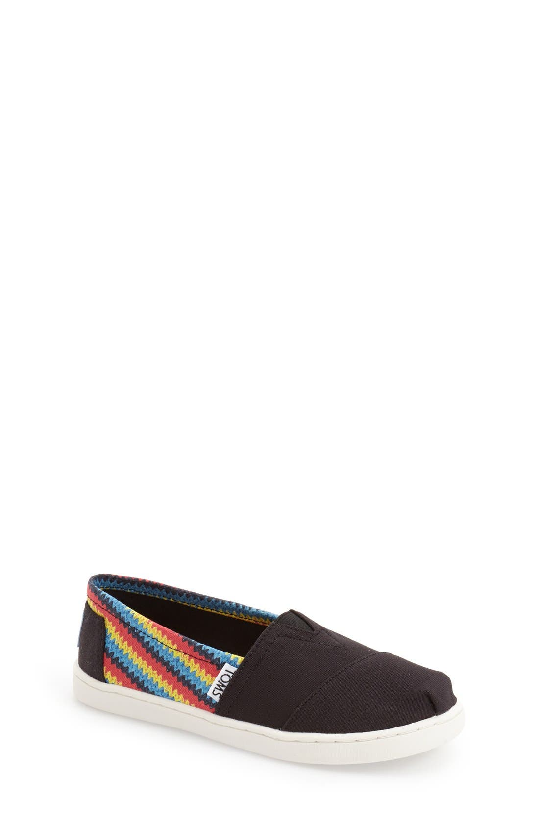 'Classic - Raffia Print' Canvas Slip-On,                             Main thumbnail 1, color,                             BLACK