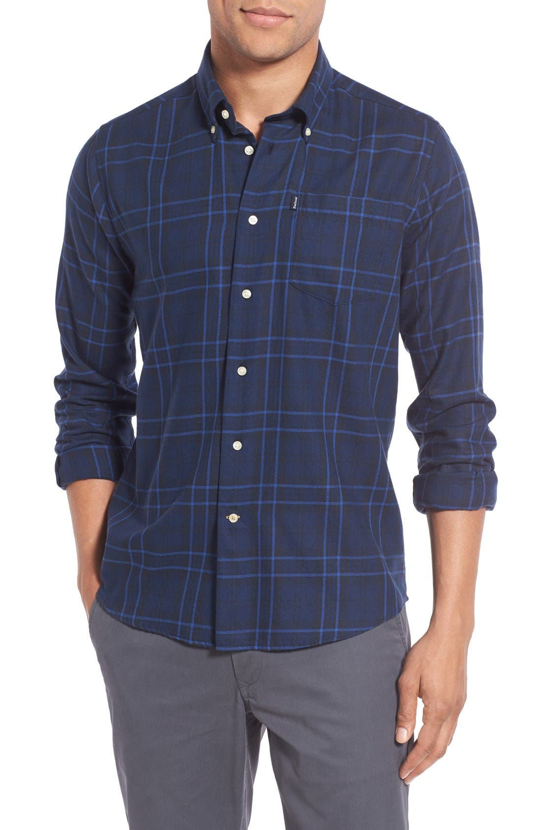 Seth Tailored Fit Plaid Sport Shirt,                             Main thumbnail 2, color,
