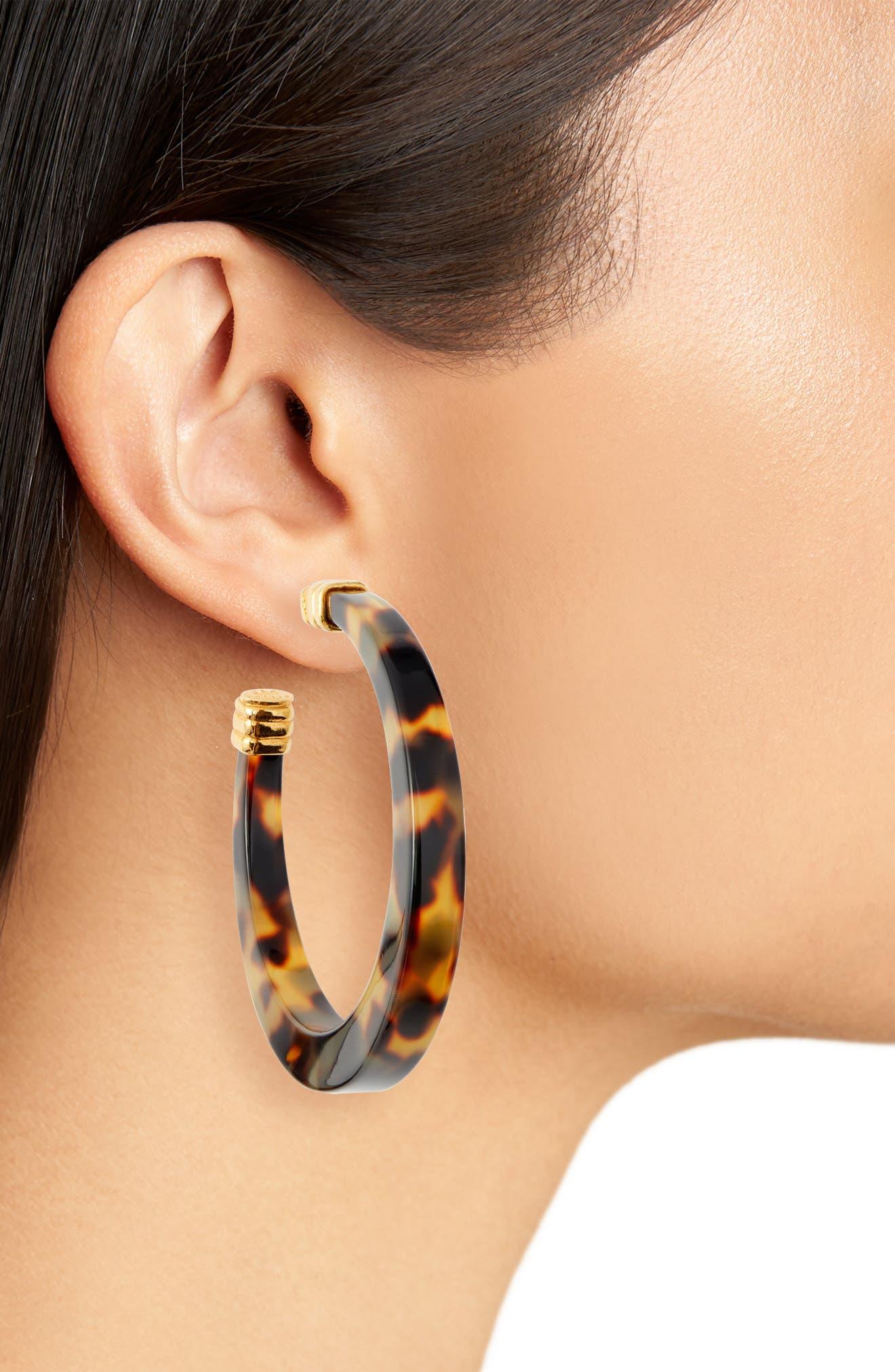 Tortoiseshell Open Hoop Earrings,                             Alternate thumbnail 3, color,                             TORTOISE